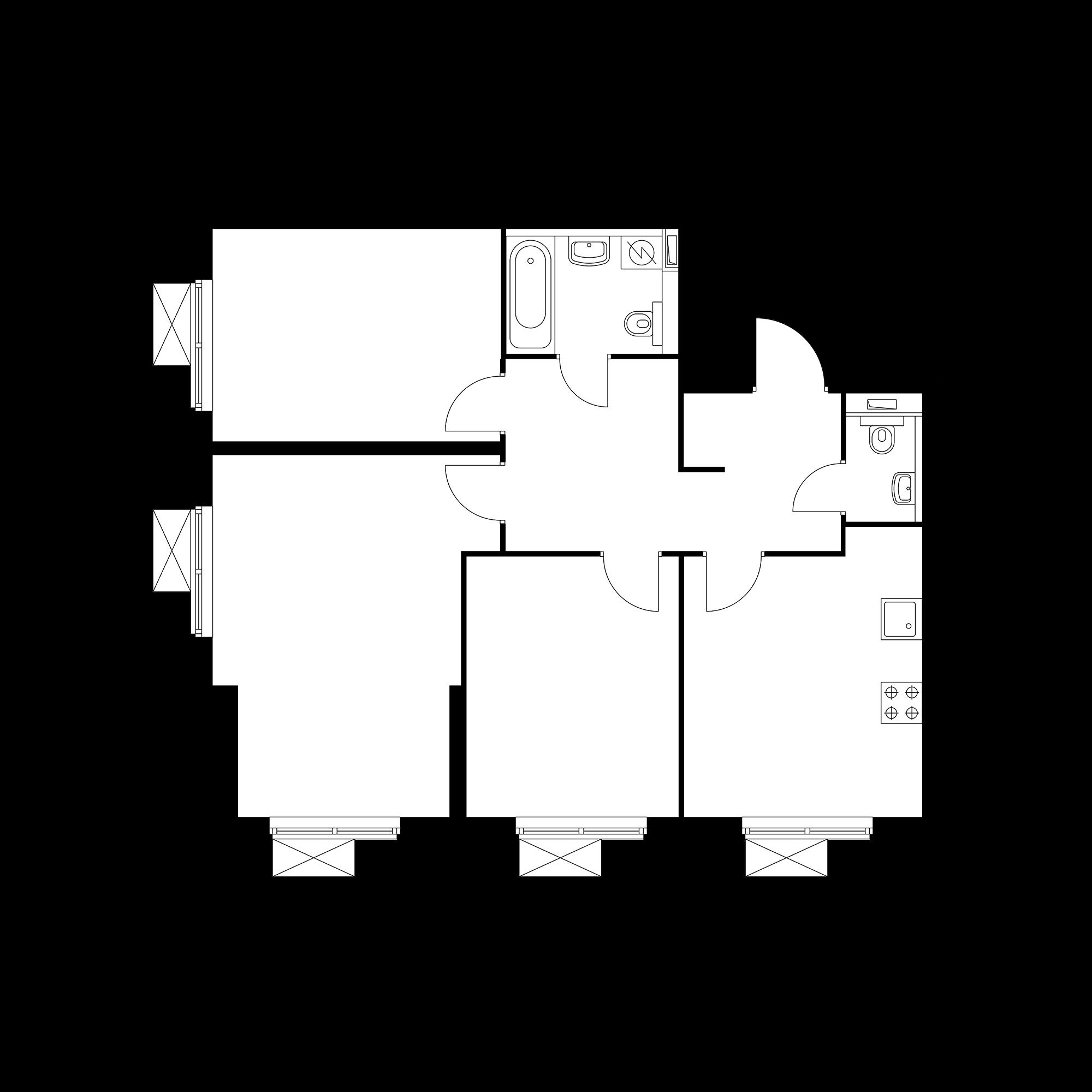 3-комнатная 76.03  м²