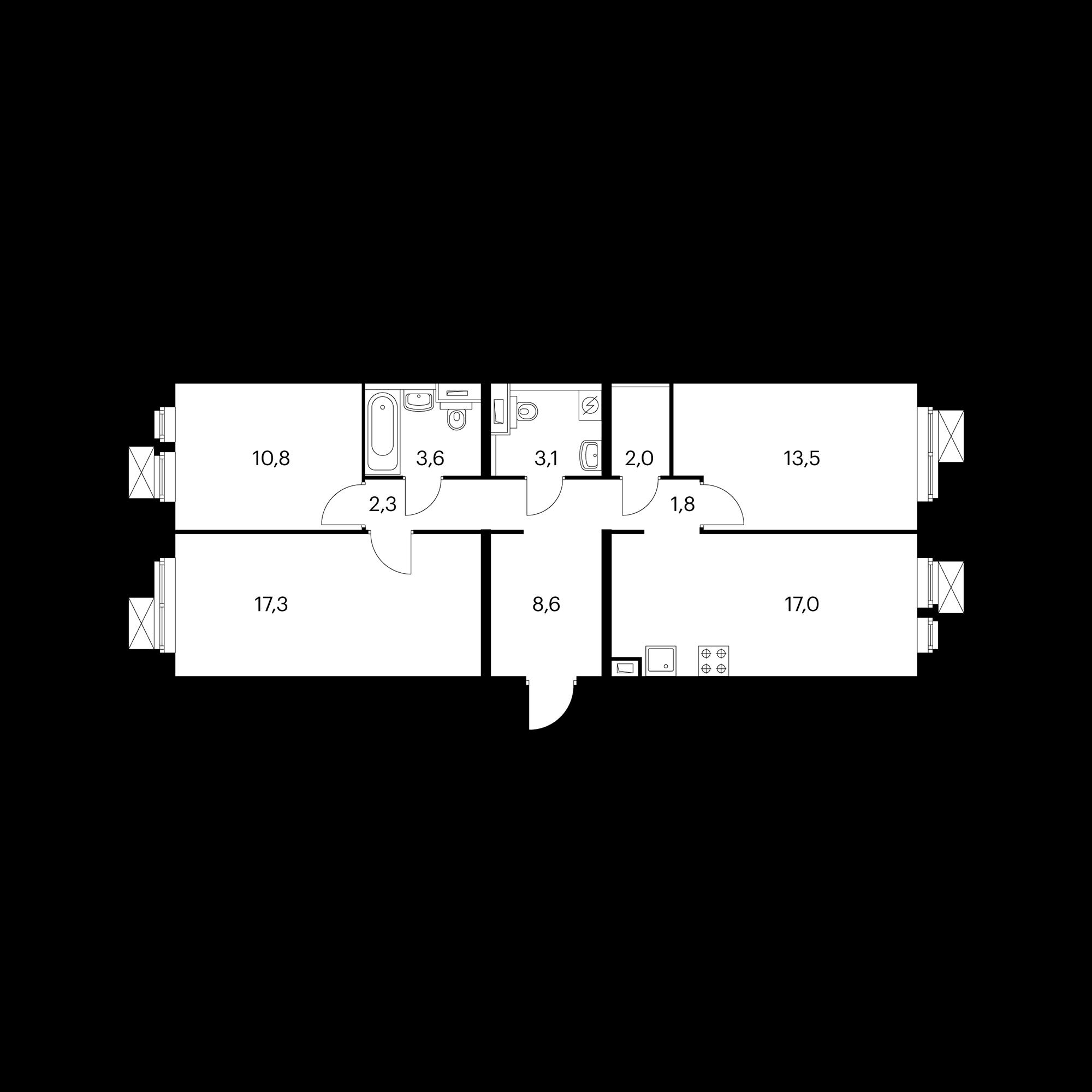 3-комнатная 80 м²