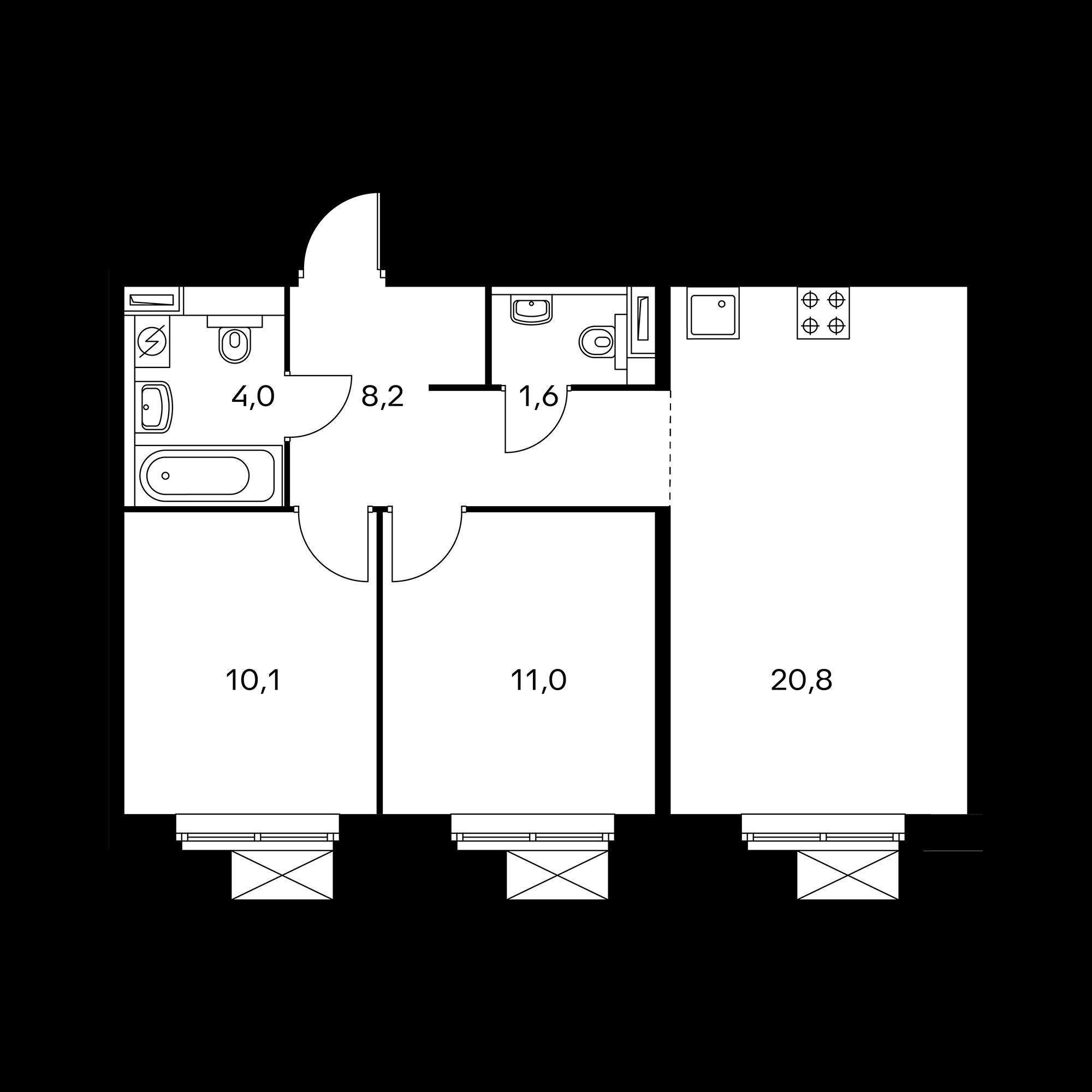 2-комнатная 55.7  м²