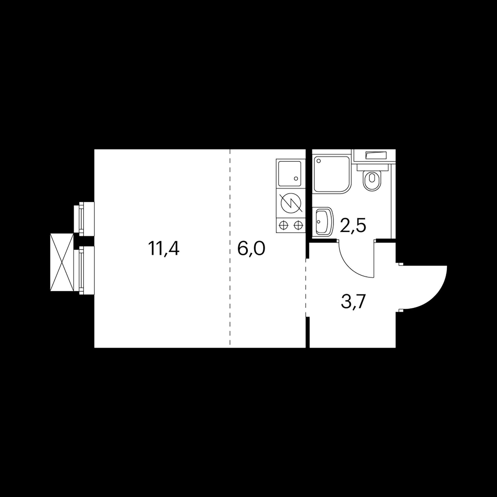 Студия 23.7  м²