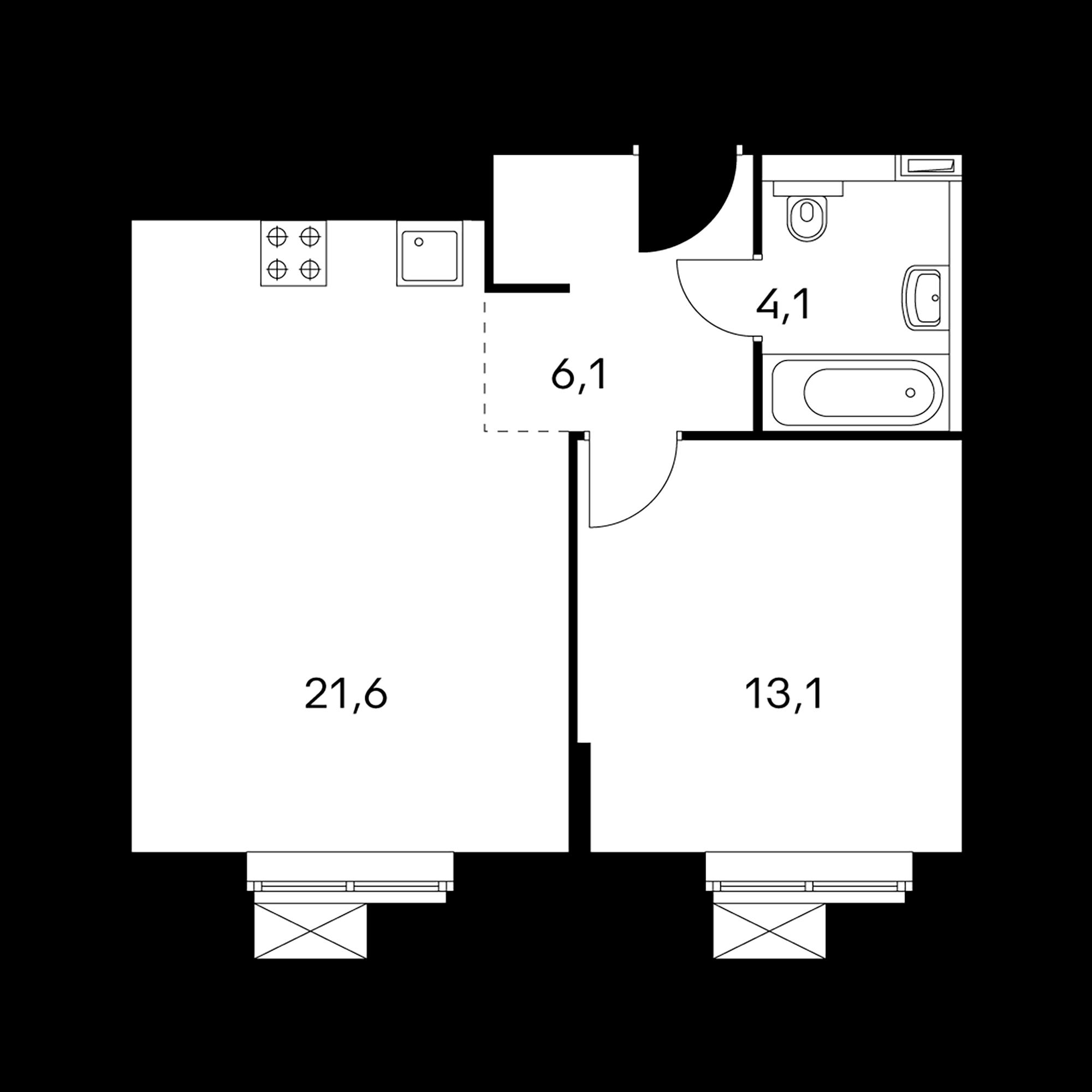 1-комнатные 44.9 м²