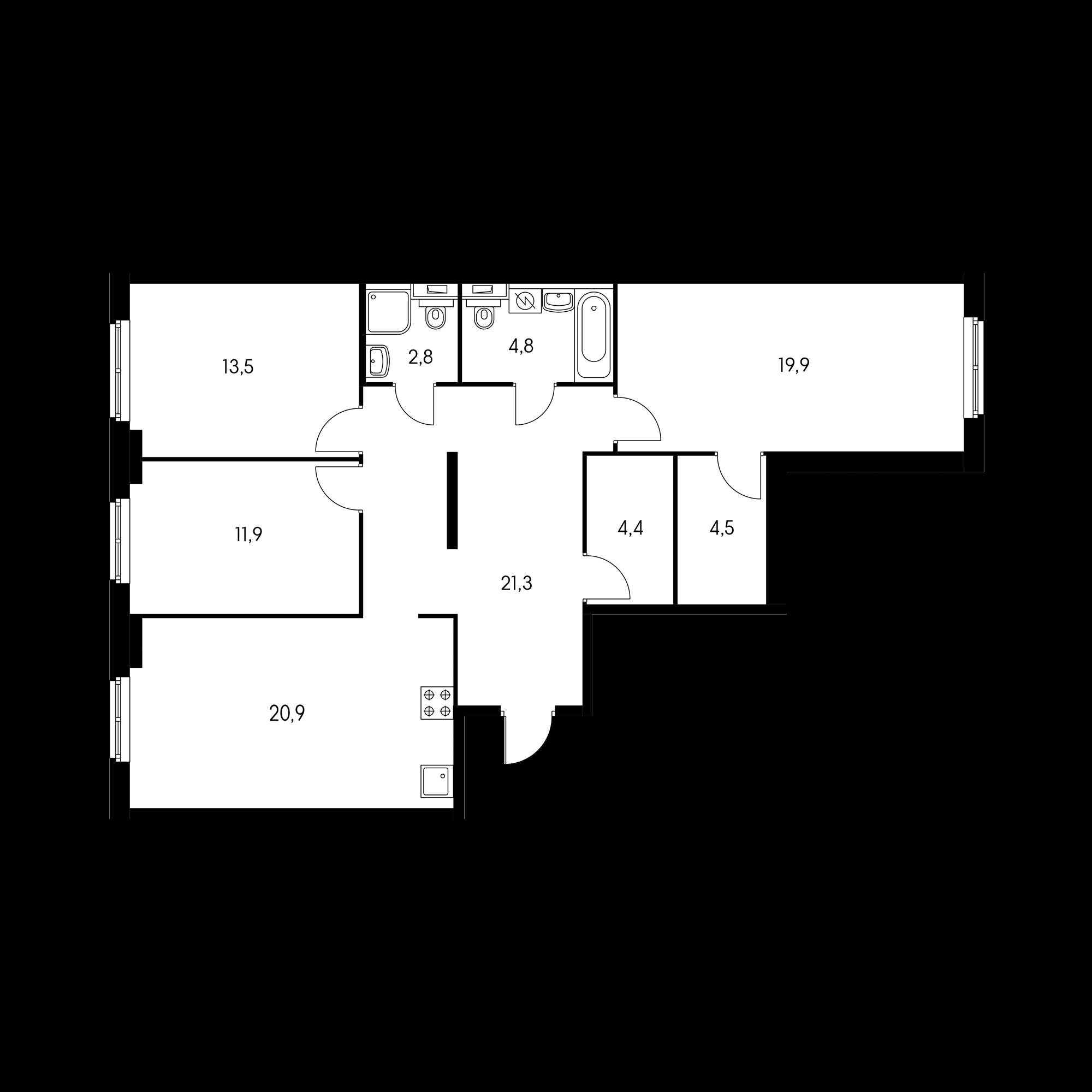 3-комнатная 104  м²