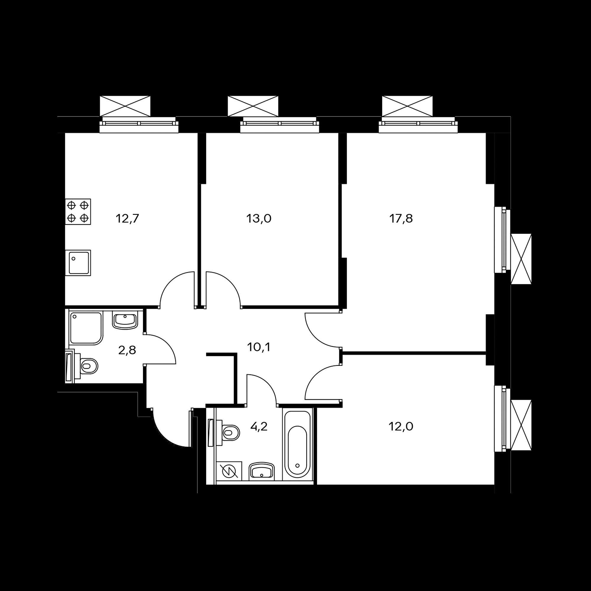 3-комнатная 72.6 м²