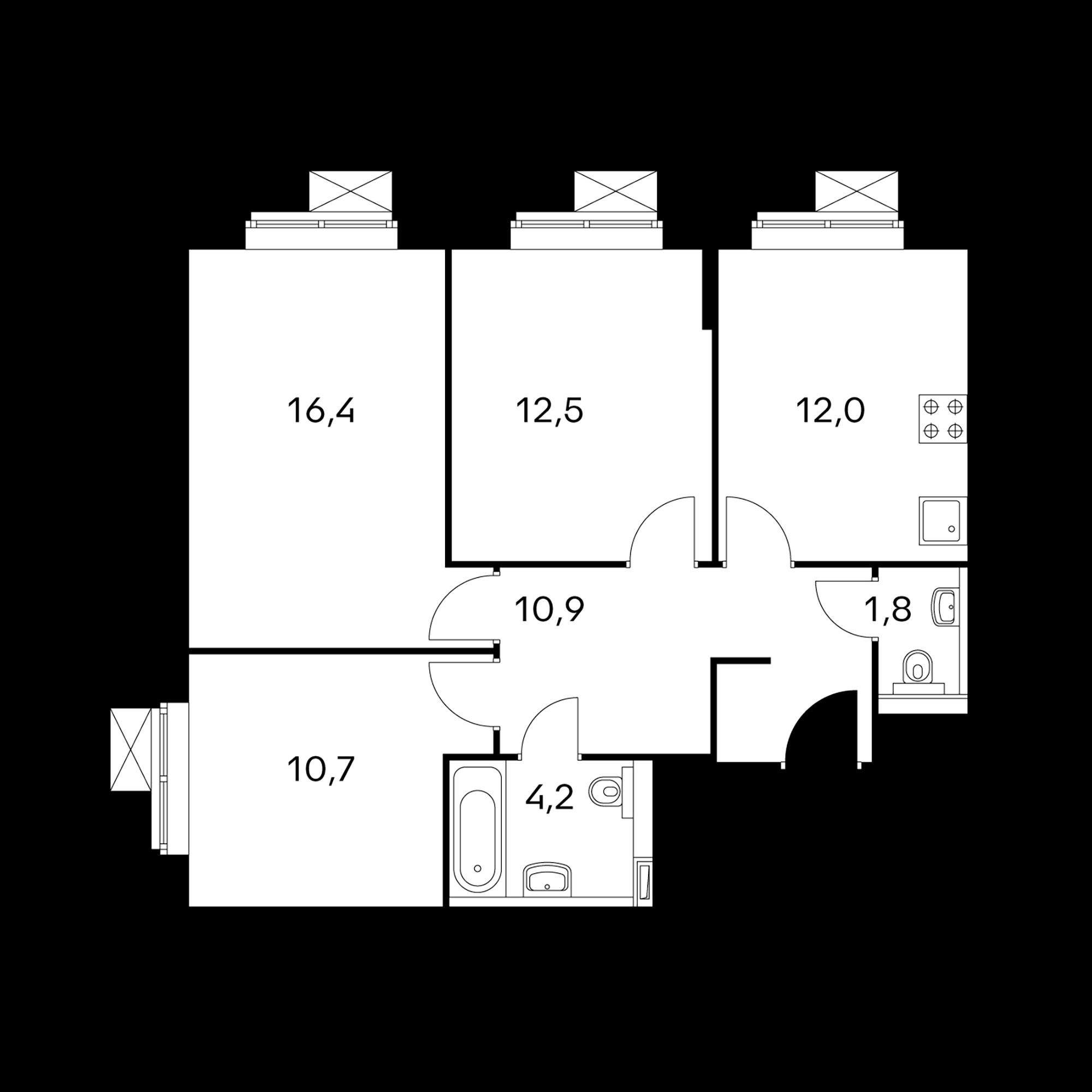 3-комнатные 68.5 м²