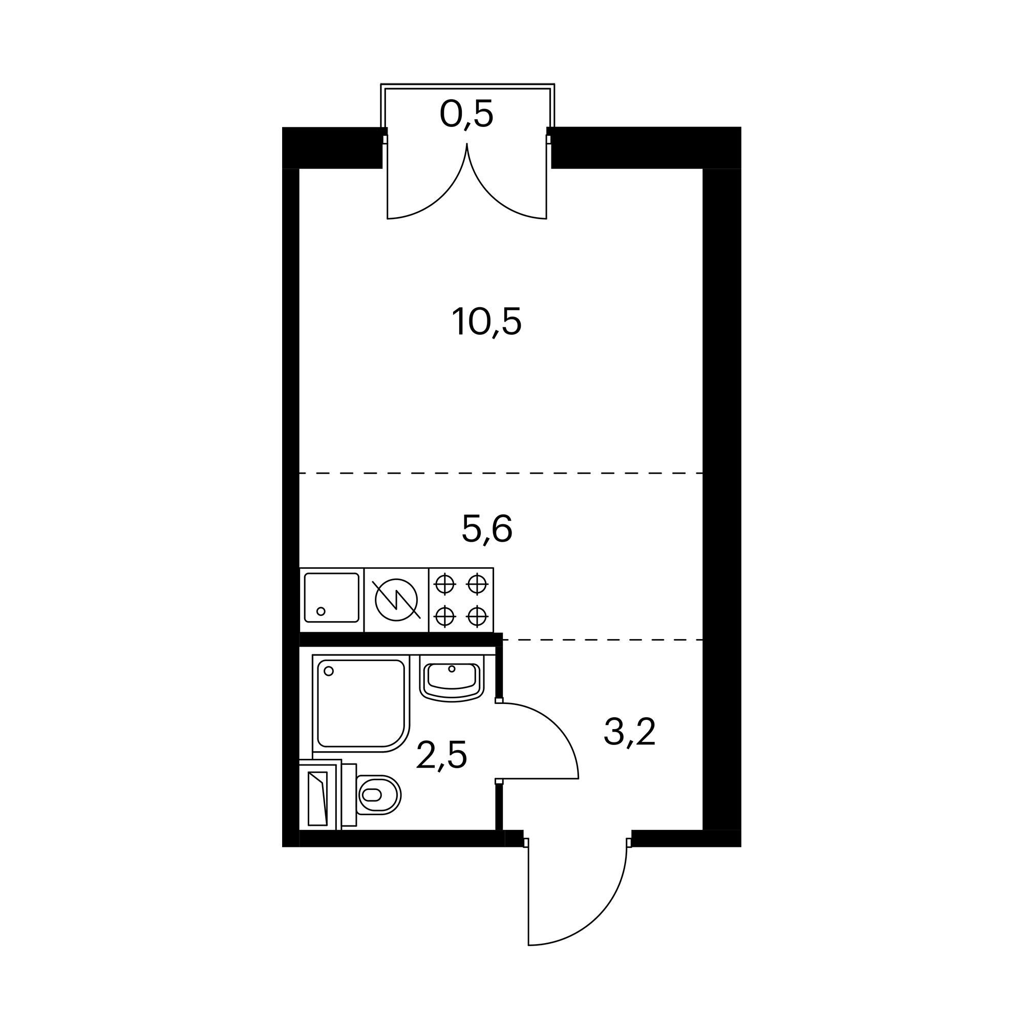 Студия 22  м²