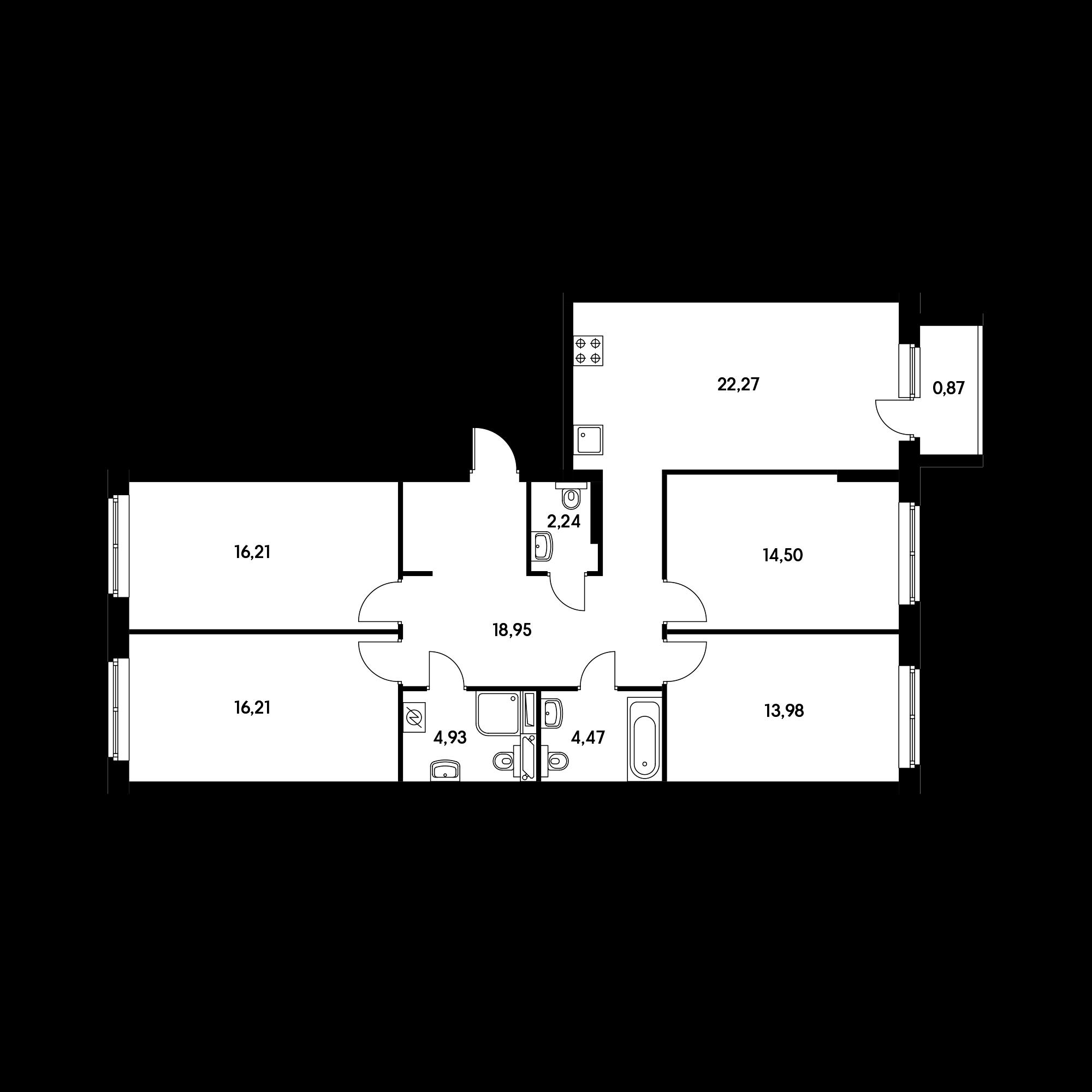 4-комнатная 114.63  м²