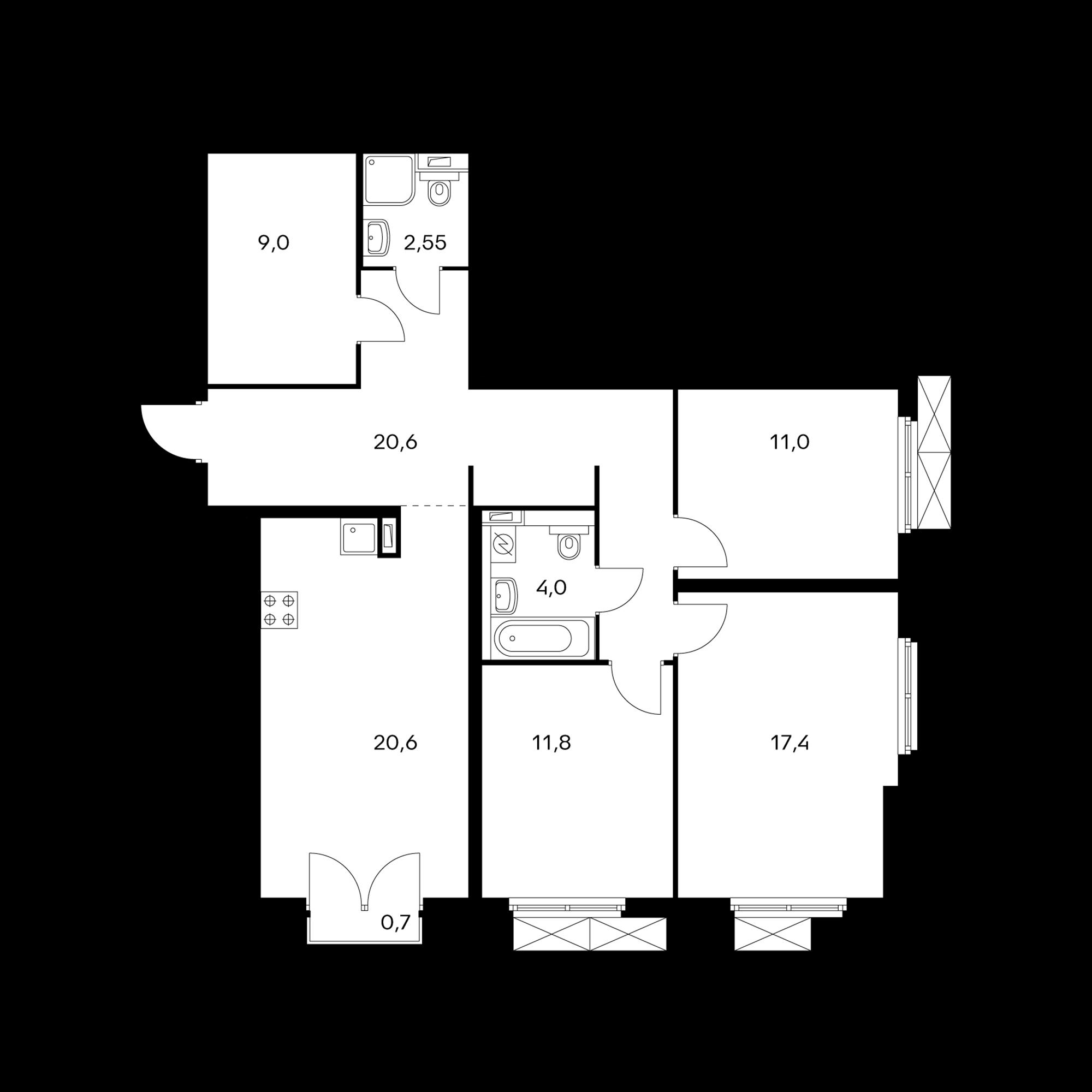 3-комнатная 97.2  м²