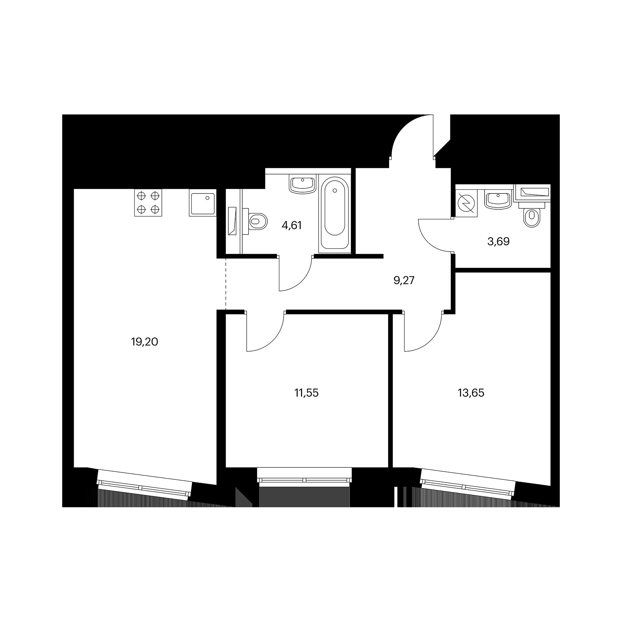 2-комнатная 61.97  м²