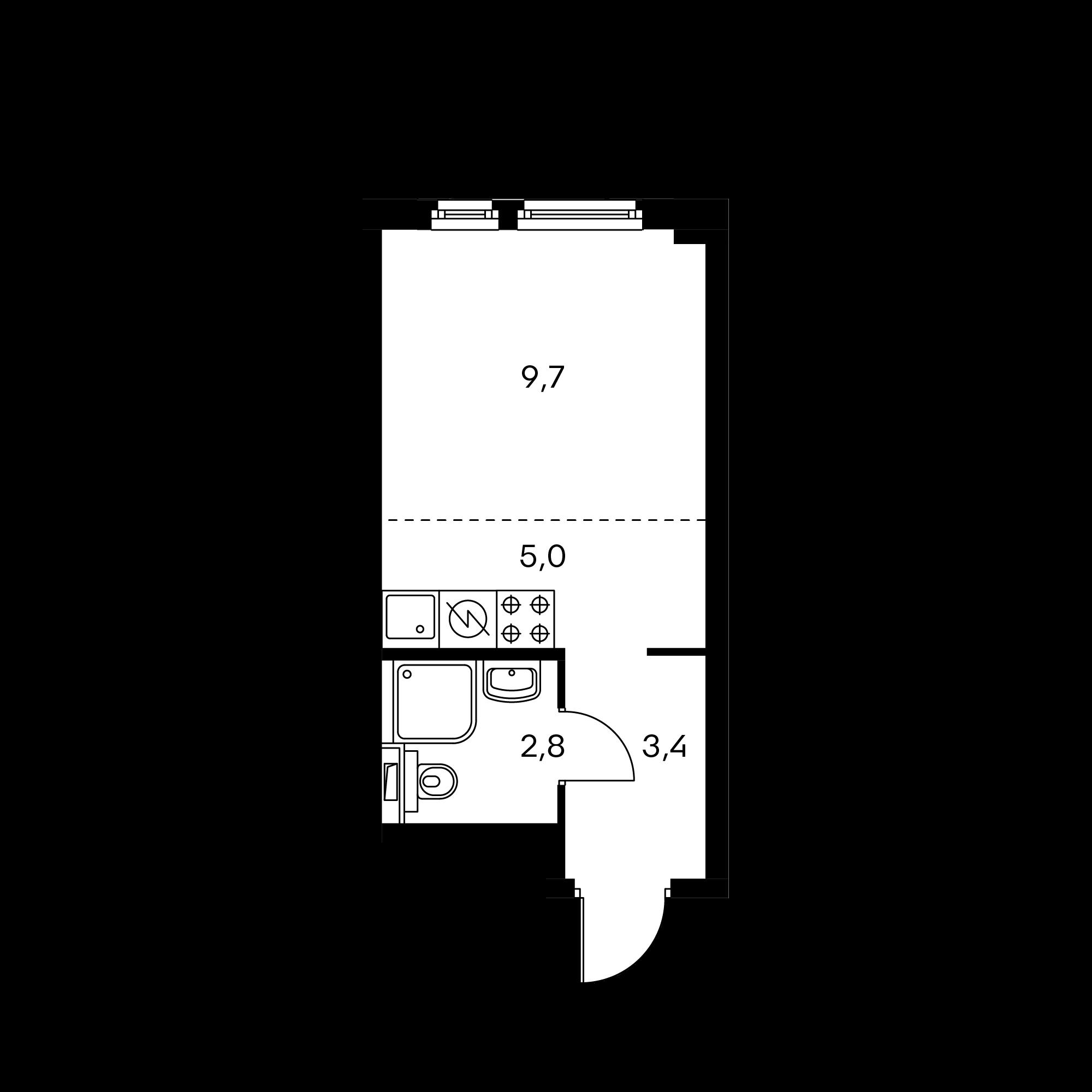 Студия 21  м²