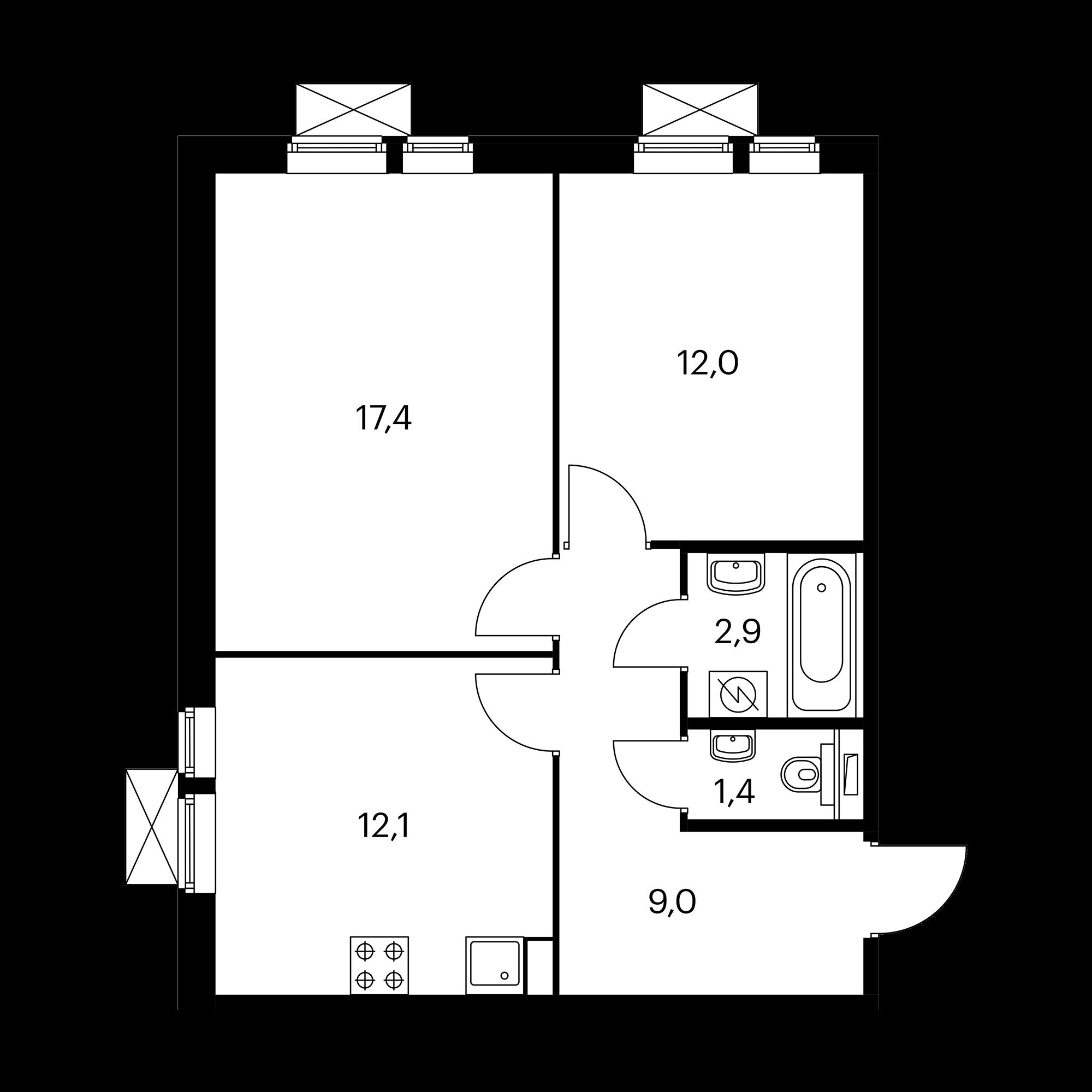 2-комнатная 54.8  м²