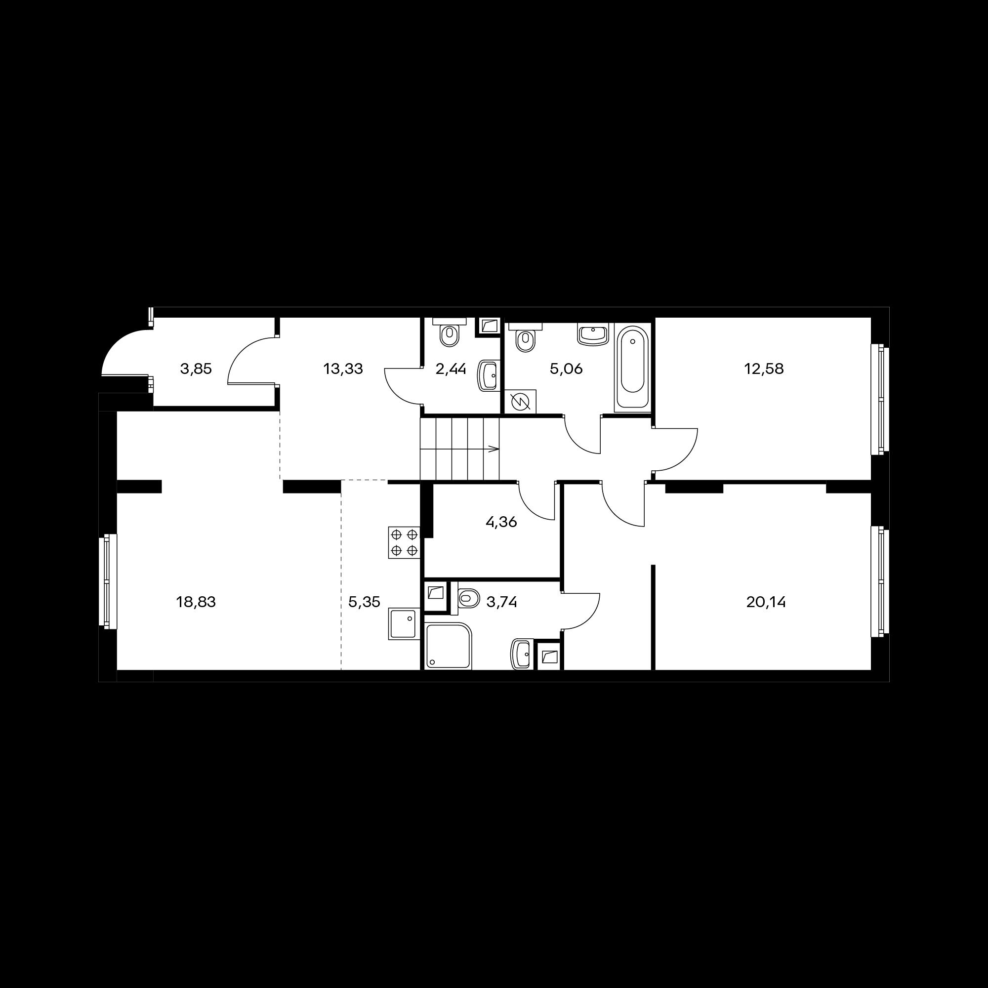 3-комнатная 89.68 м²