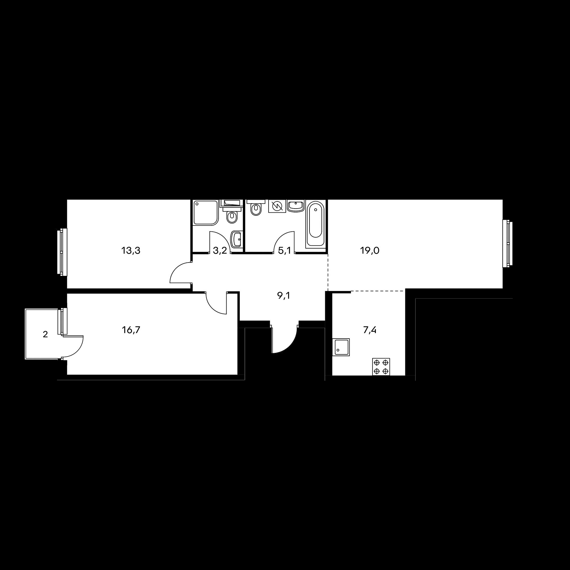 3-комнатная 74.4 м²