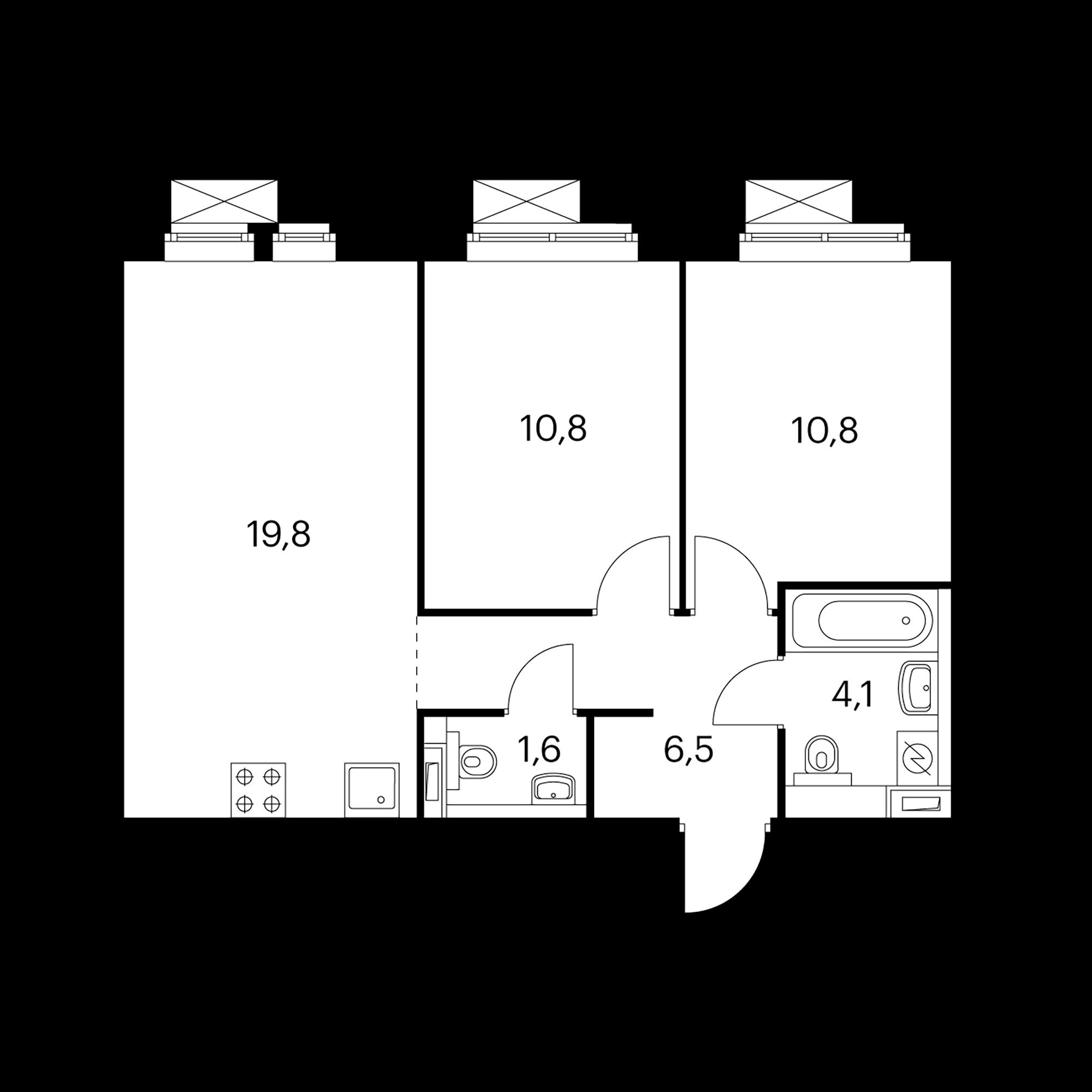 2-комнатная 53.4 м²