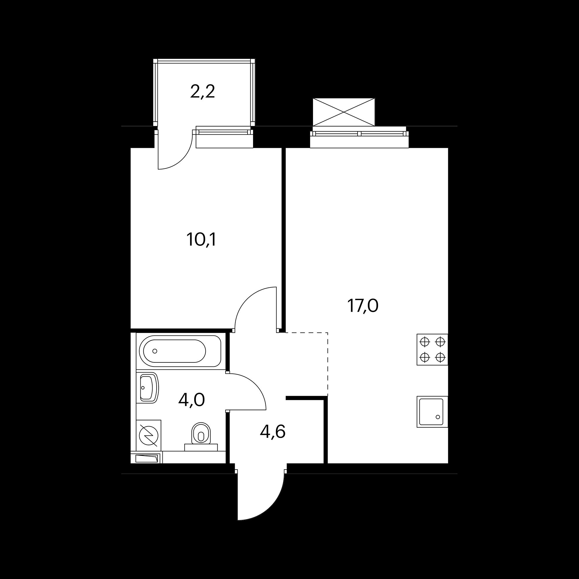 2-комнатная 36.4 м²