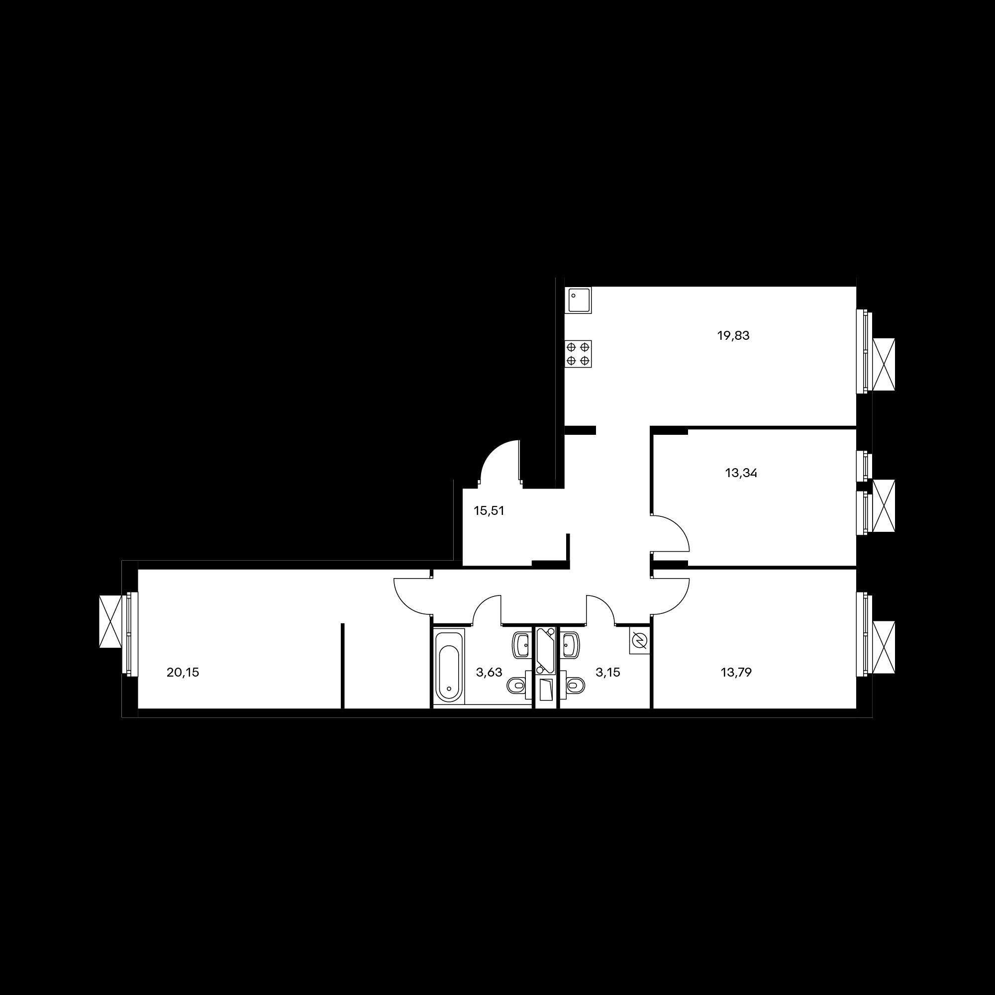 3-комнатная 88.83  м²