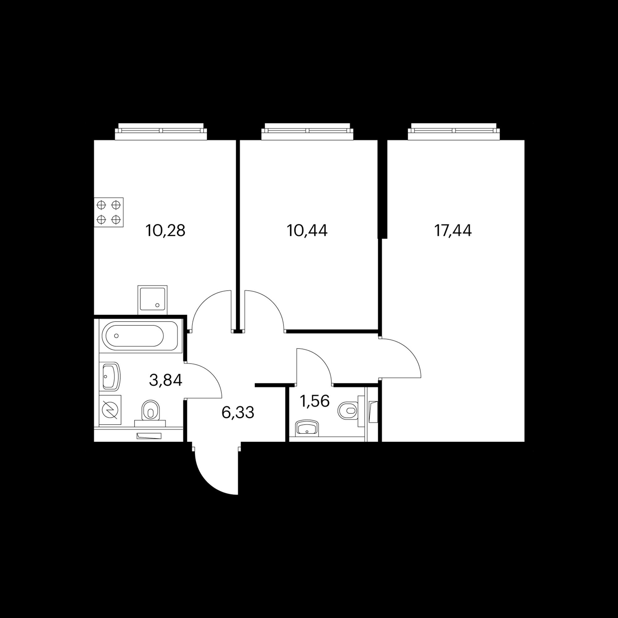 2-комнатная 49.89 м²