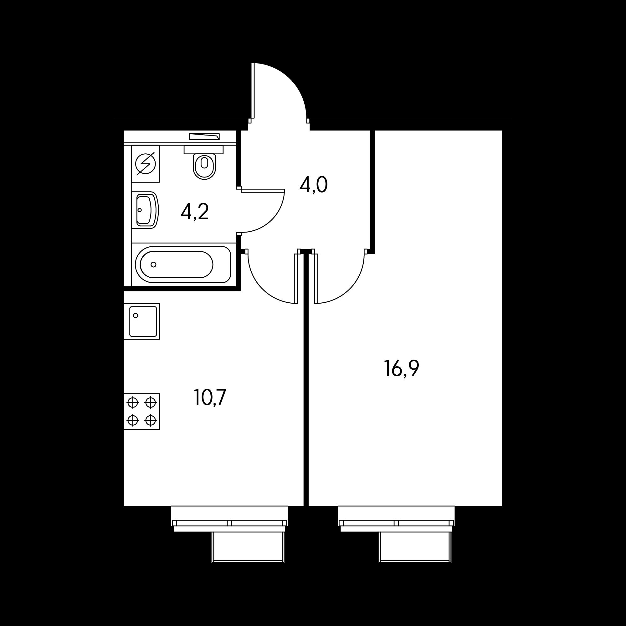 1-комнатная 35.4  м²