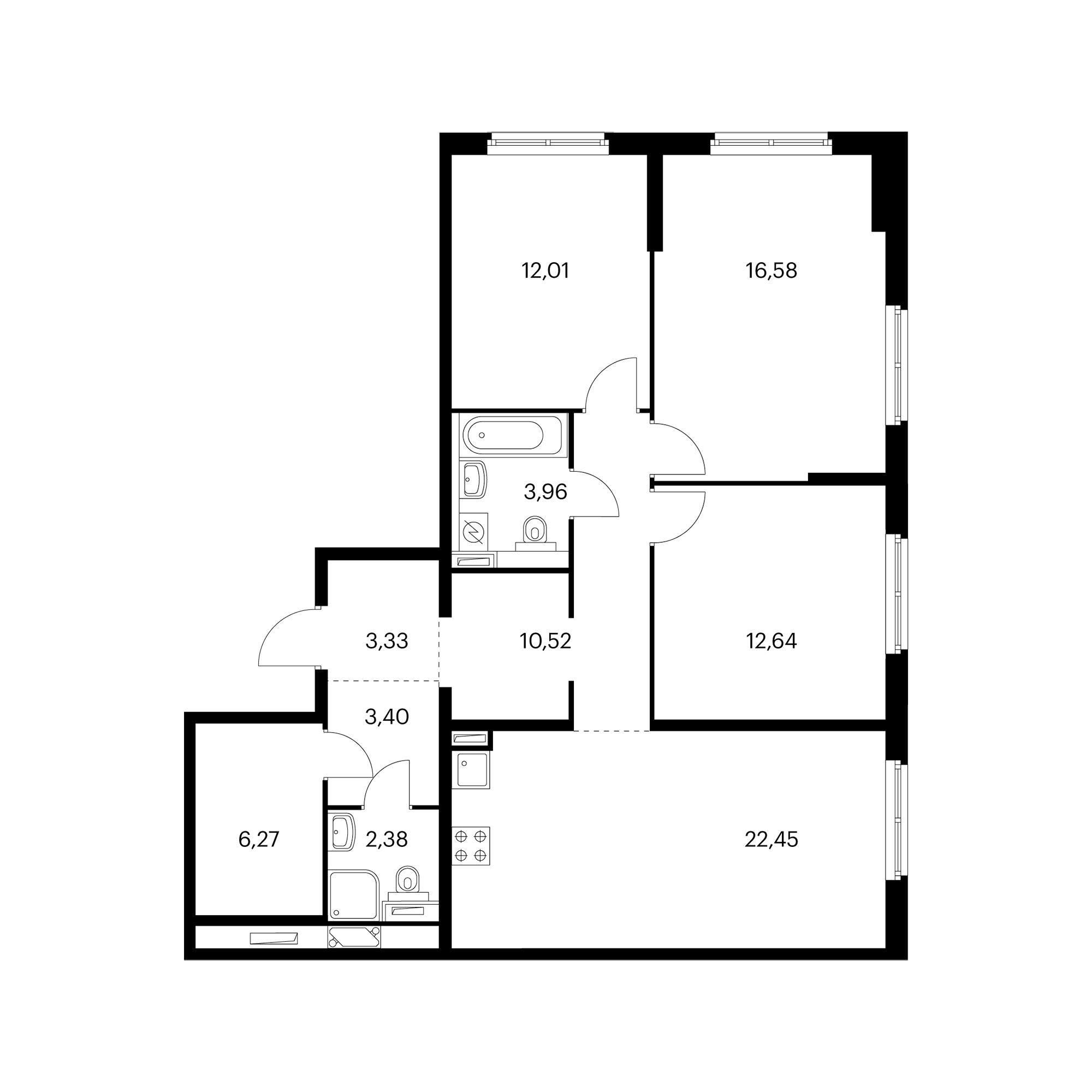3-комнатная 94.11 м²