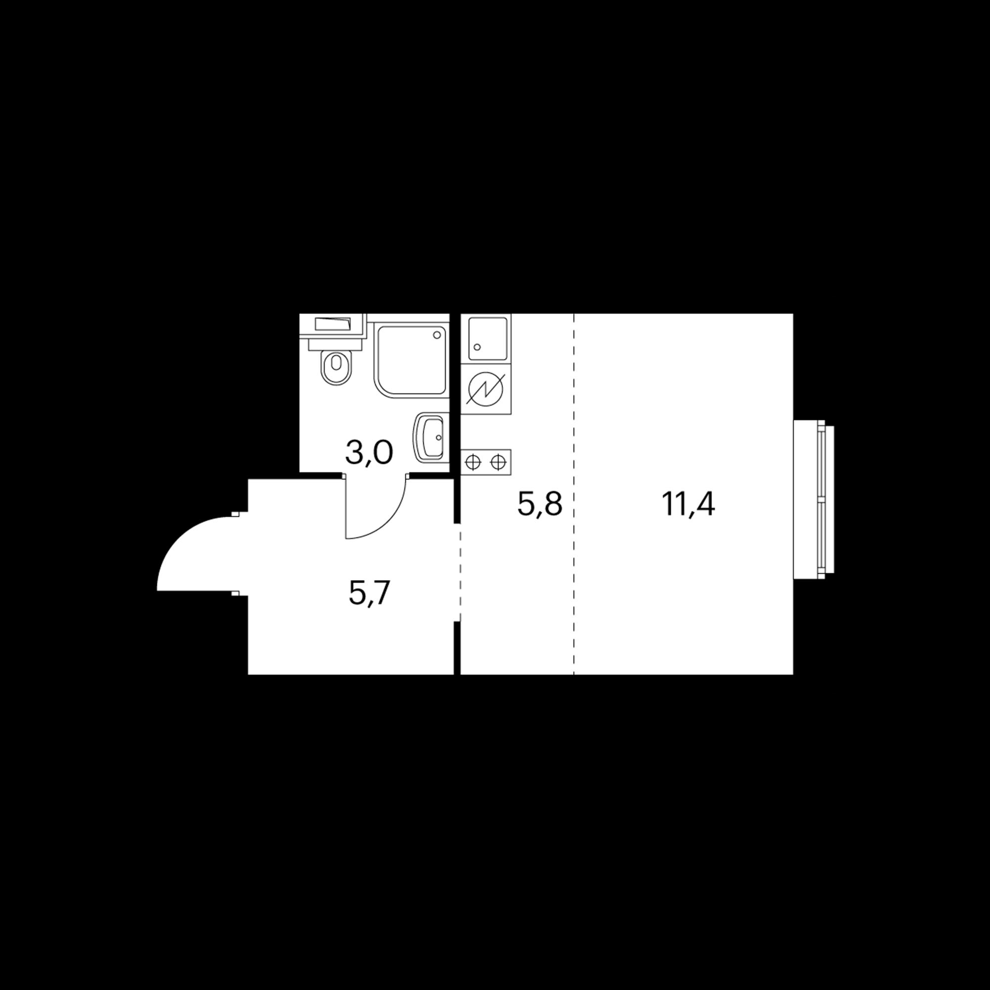Студия 25.9  м²