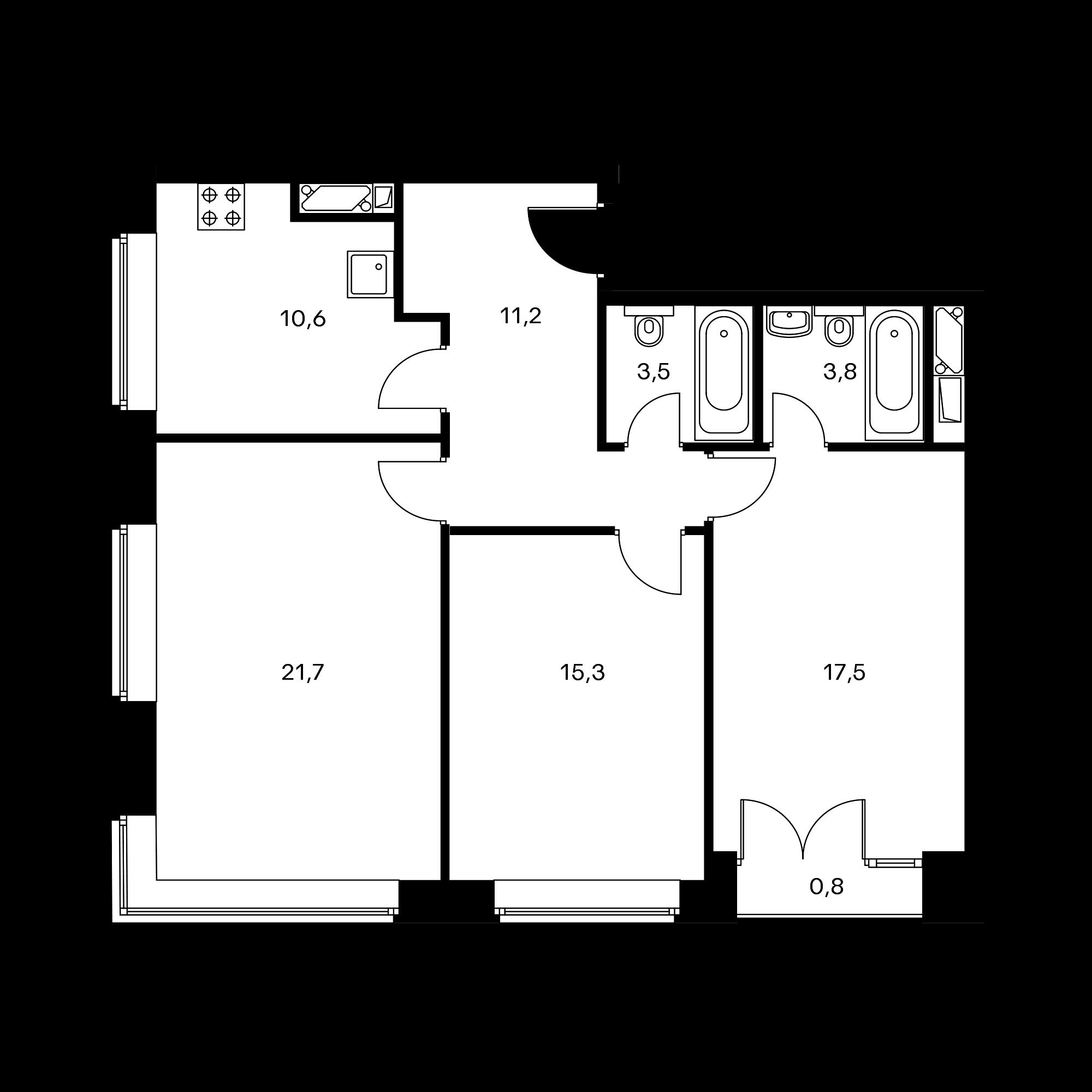 3-комнатная 85.1 м²