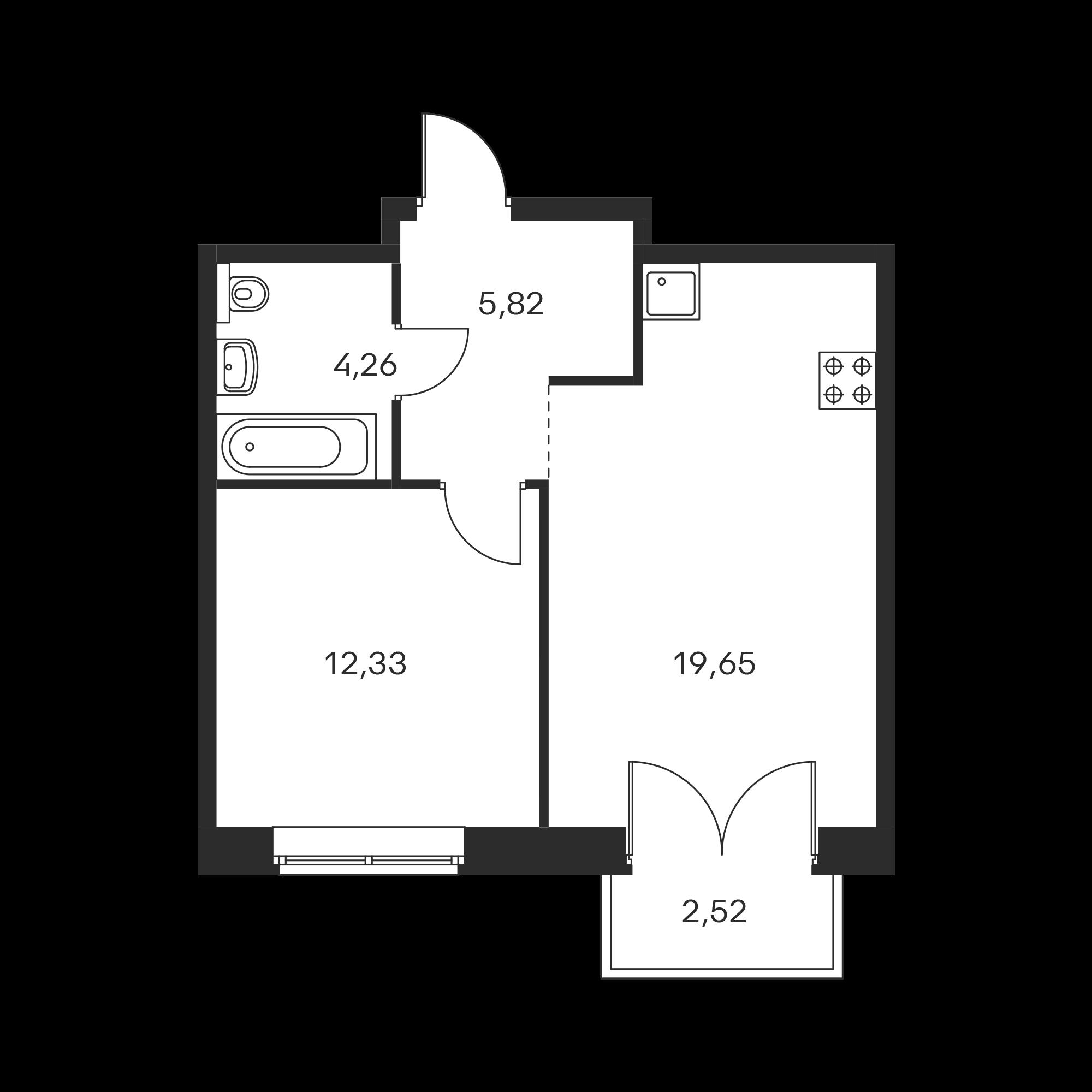 1-комнатная 42.82 м²