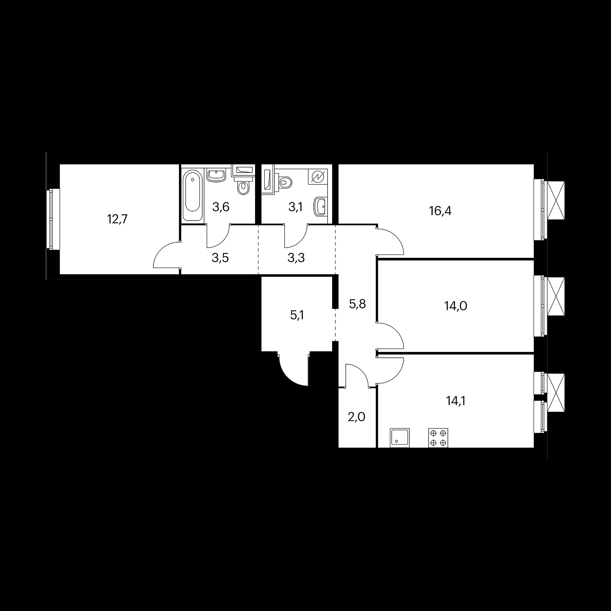 3-комнатная 83.6 м²