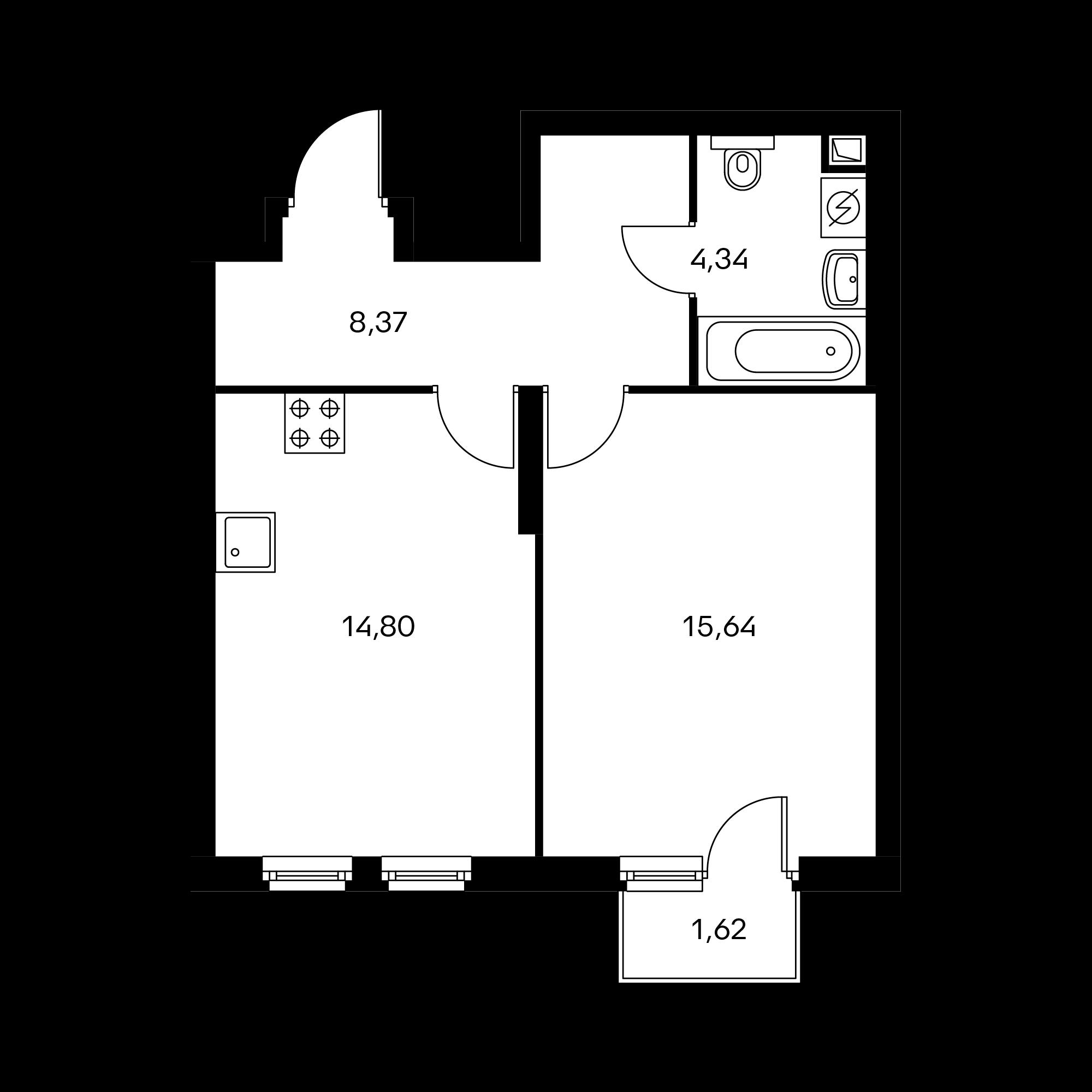 1-комнатная 43.64  м²