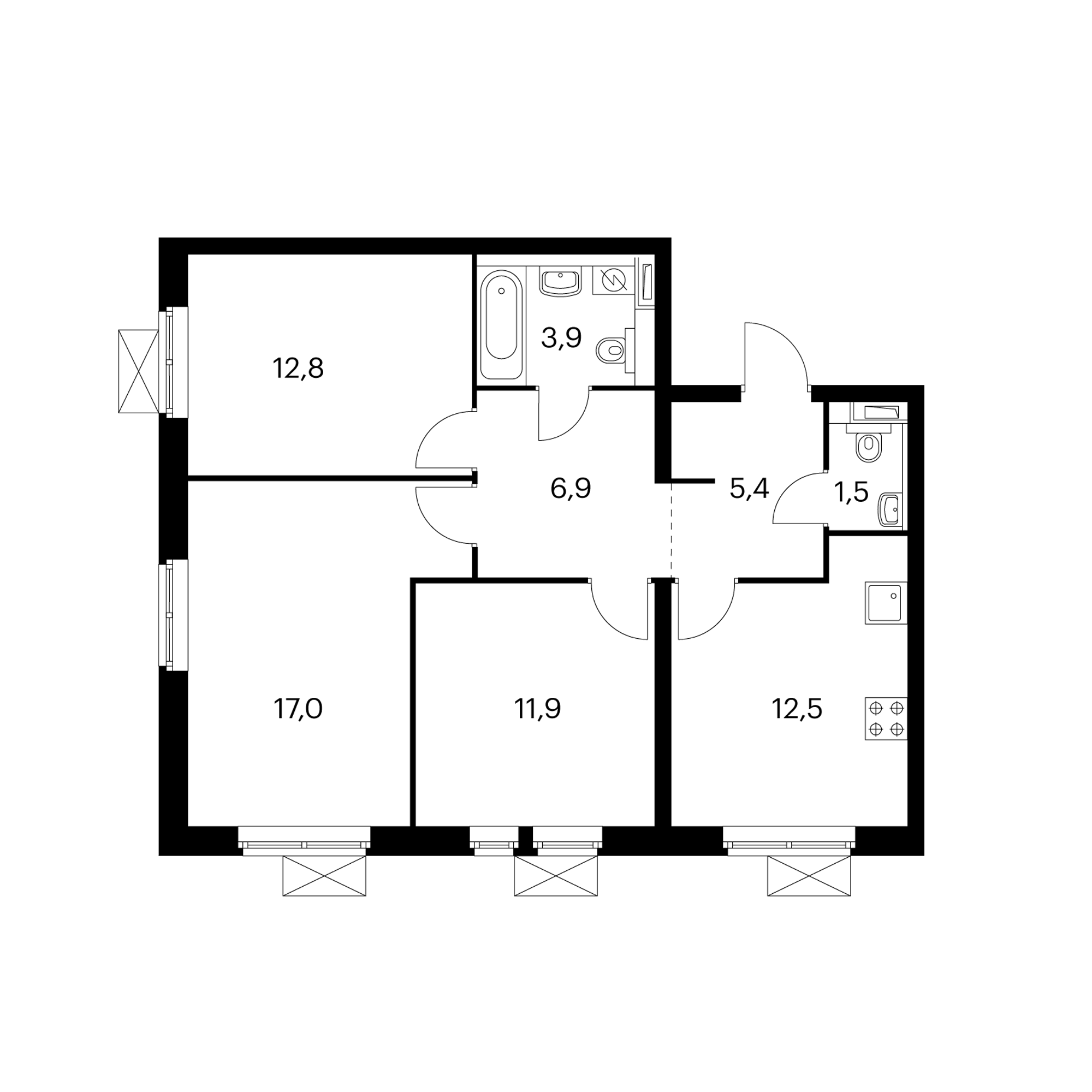 3-комнатная 71.9 м²