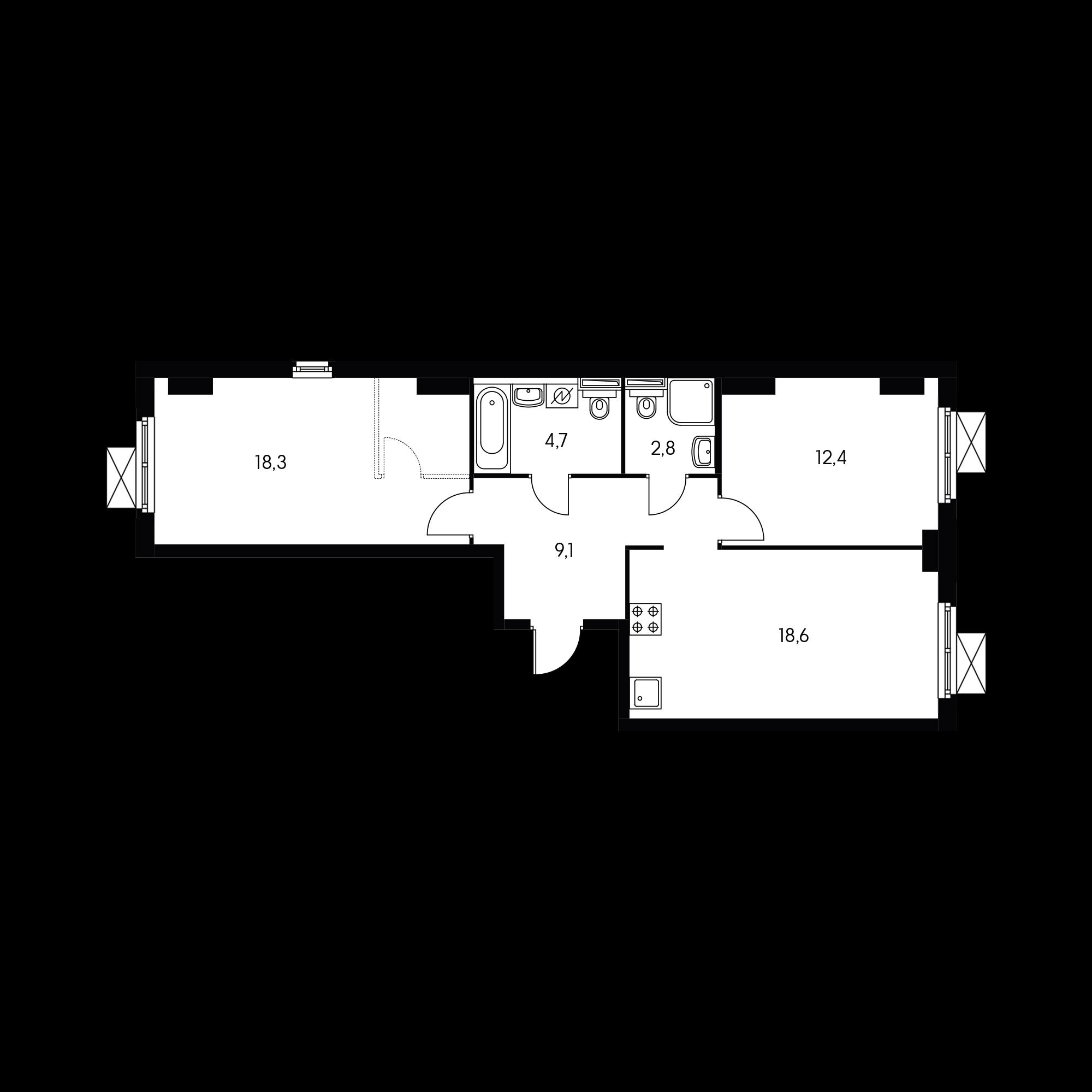 2-комнатная 67 м²