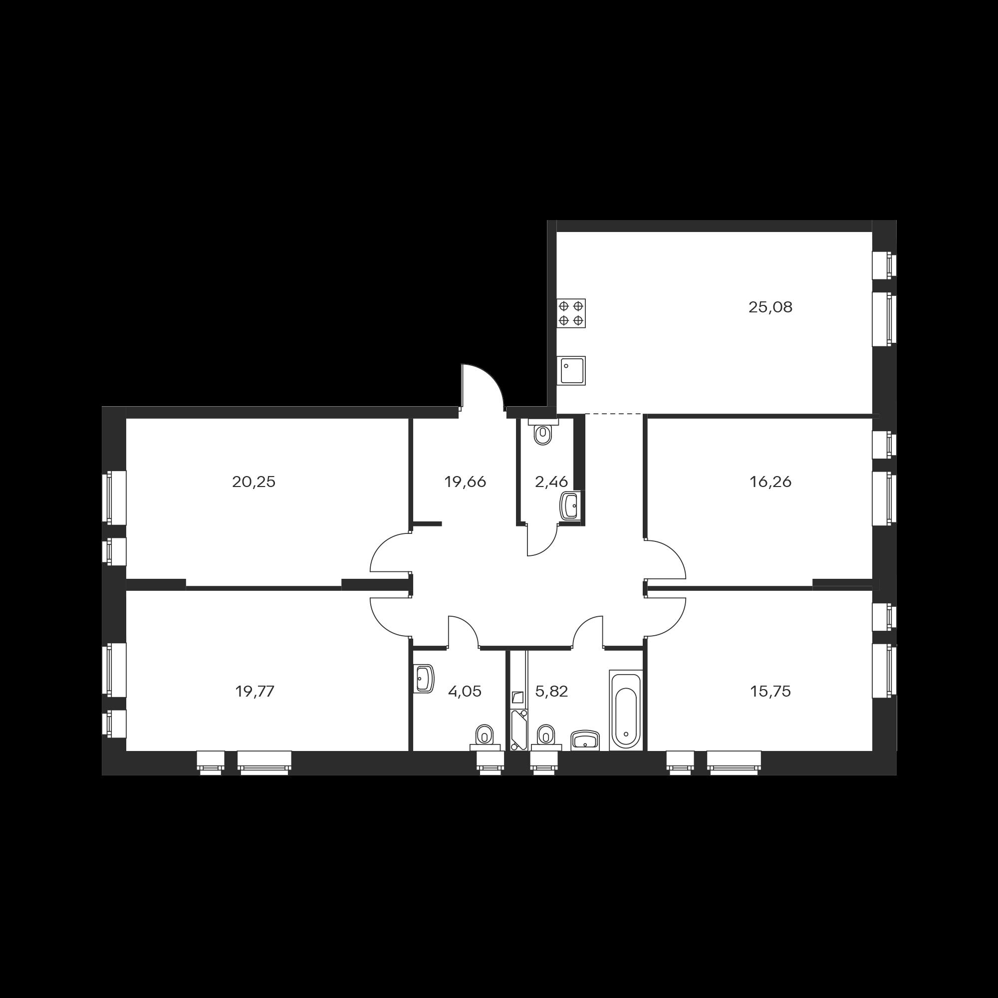 4-комнатная 129.1 м²