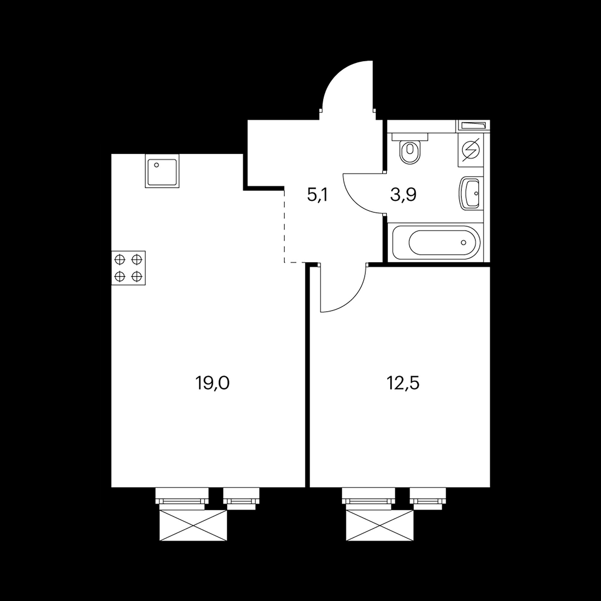 1-комнатная 40.5  м²