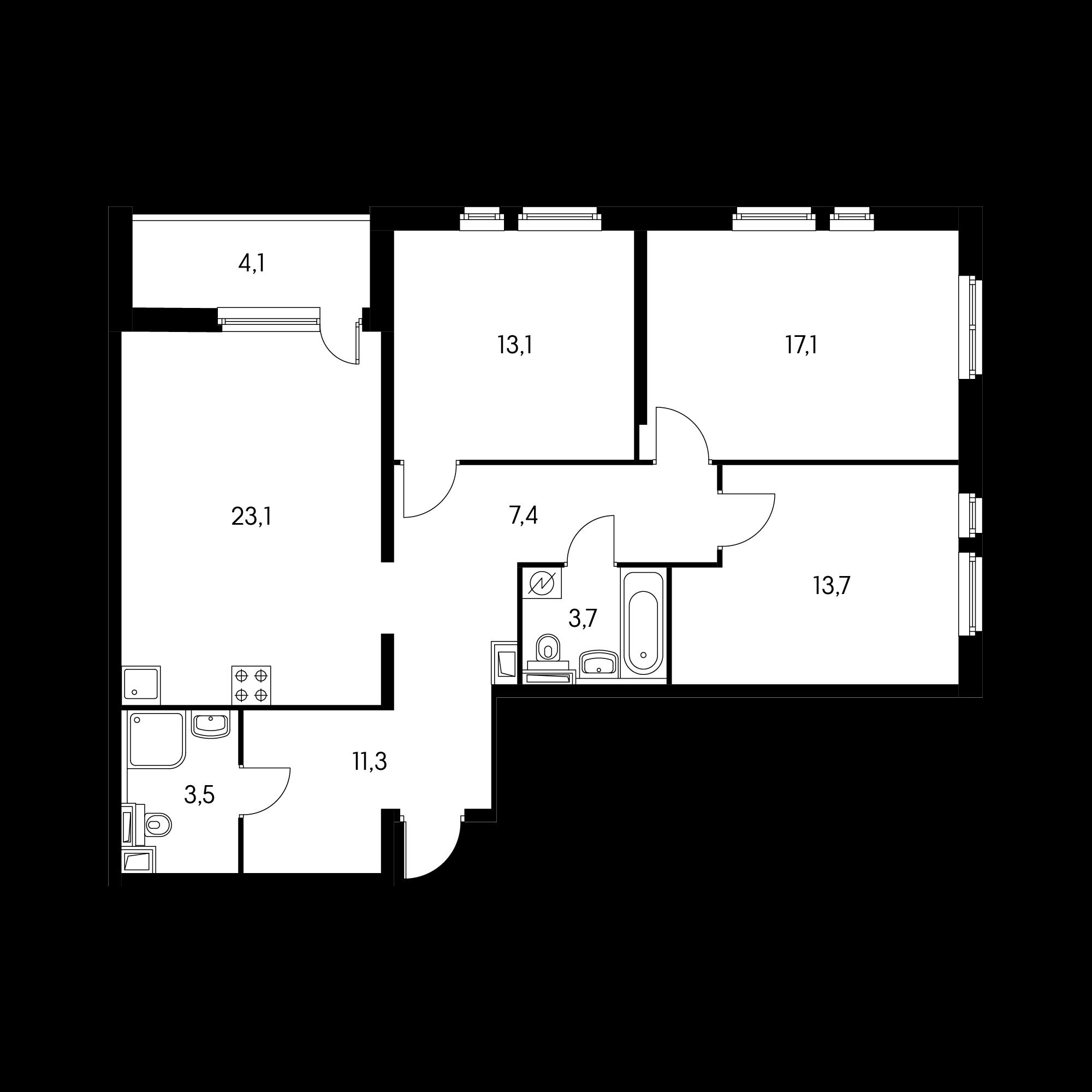 3-комнатная 95 м²