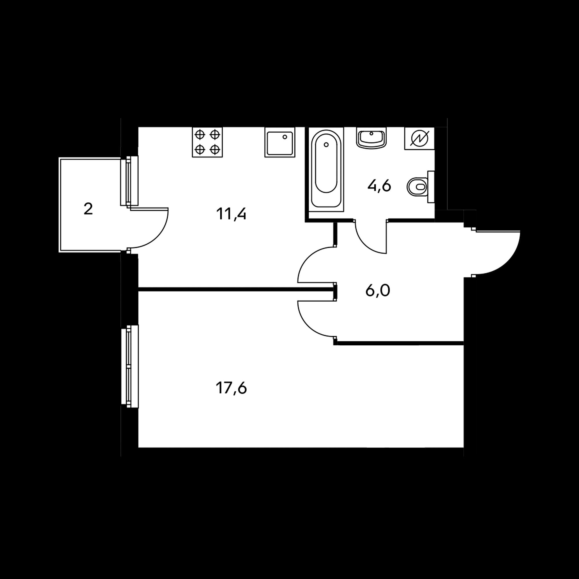 1-комнатная 40 м²