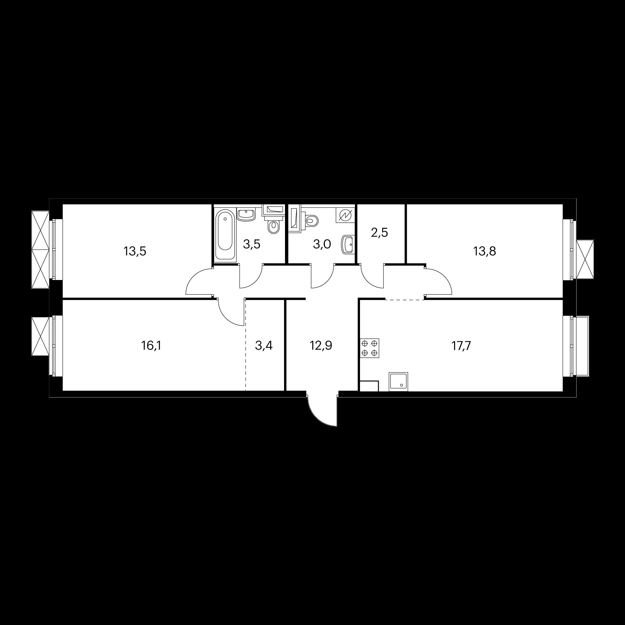 3-комнатная 86.4 м²