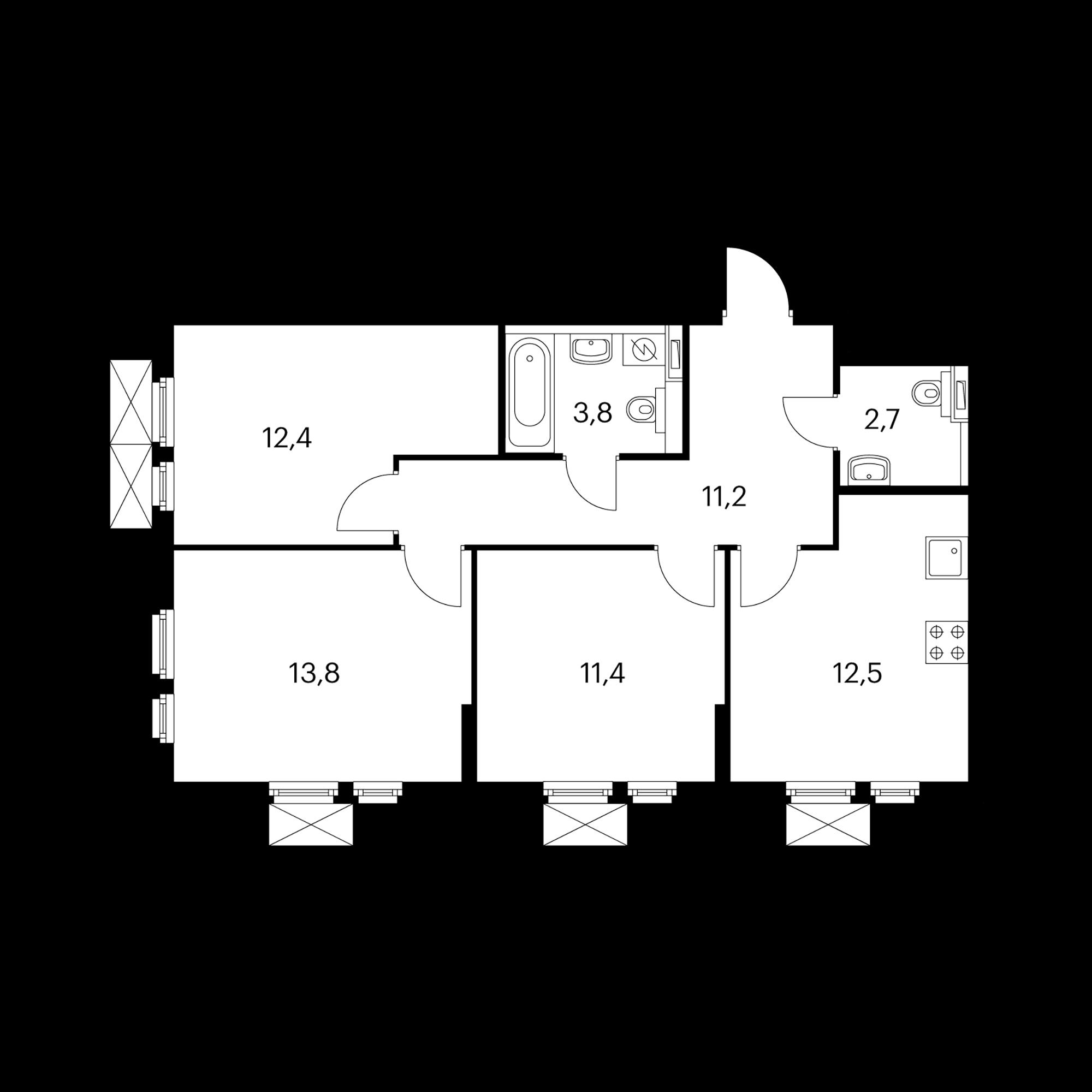 3-комнатная 67.8 м²