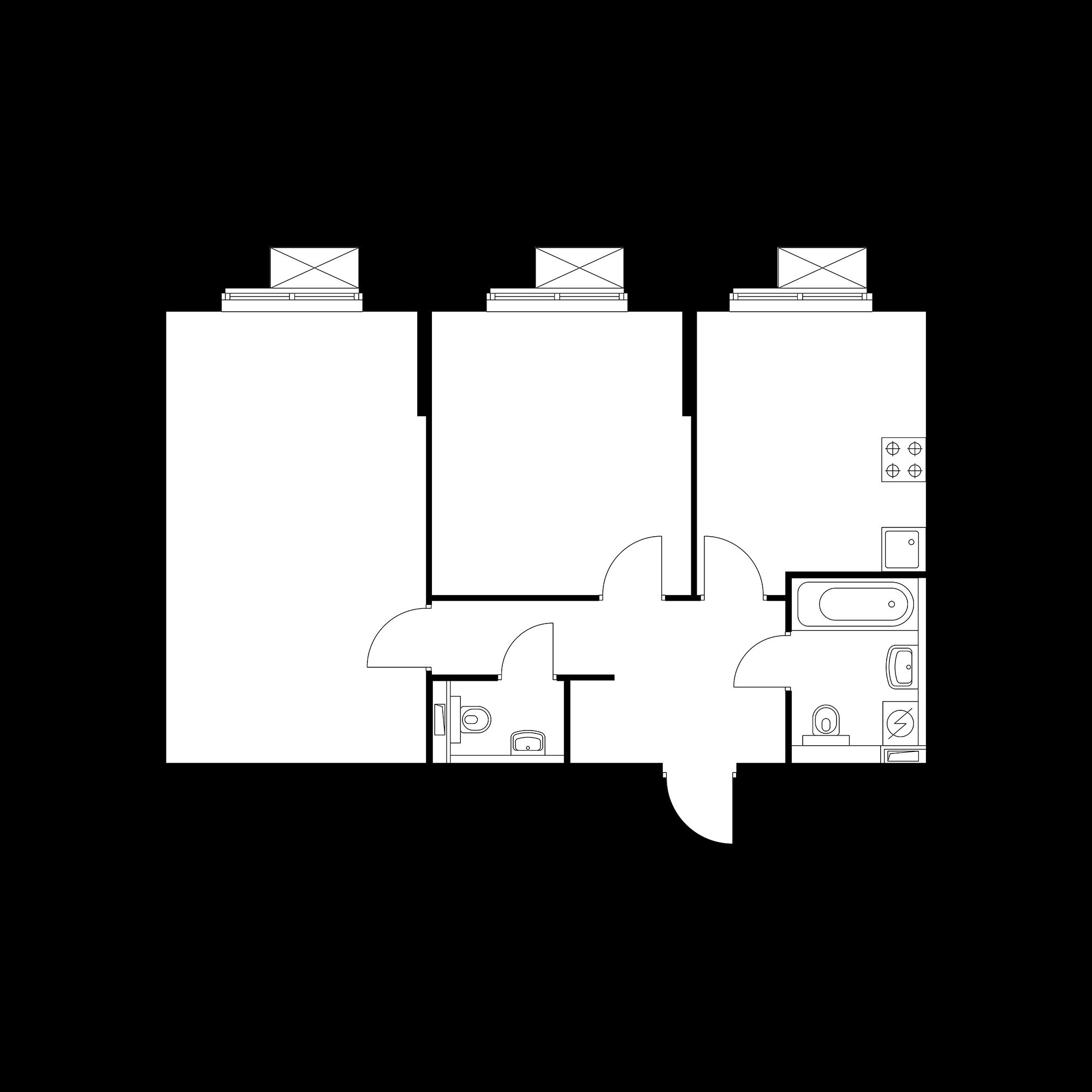 2-комнатная 59.96  м²