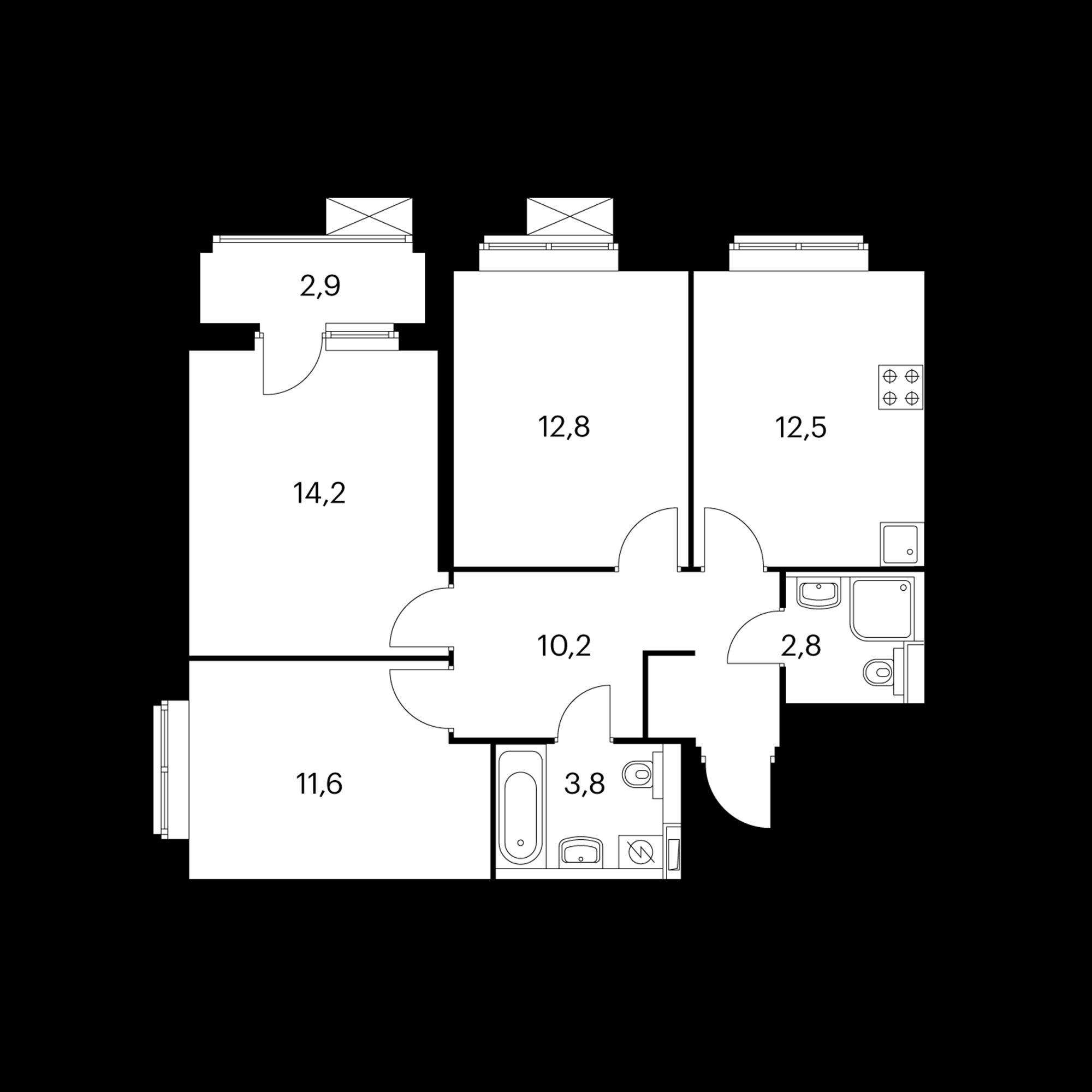 3-комнатная 69.5  м²
