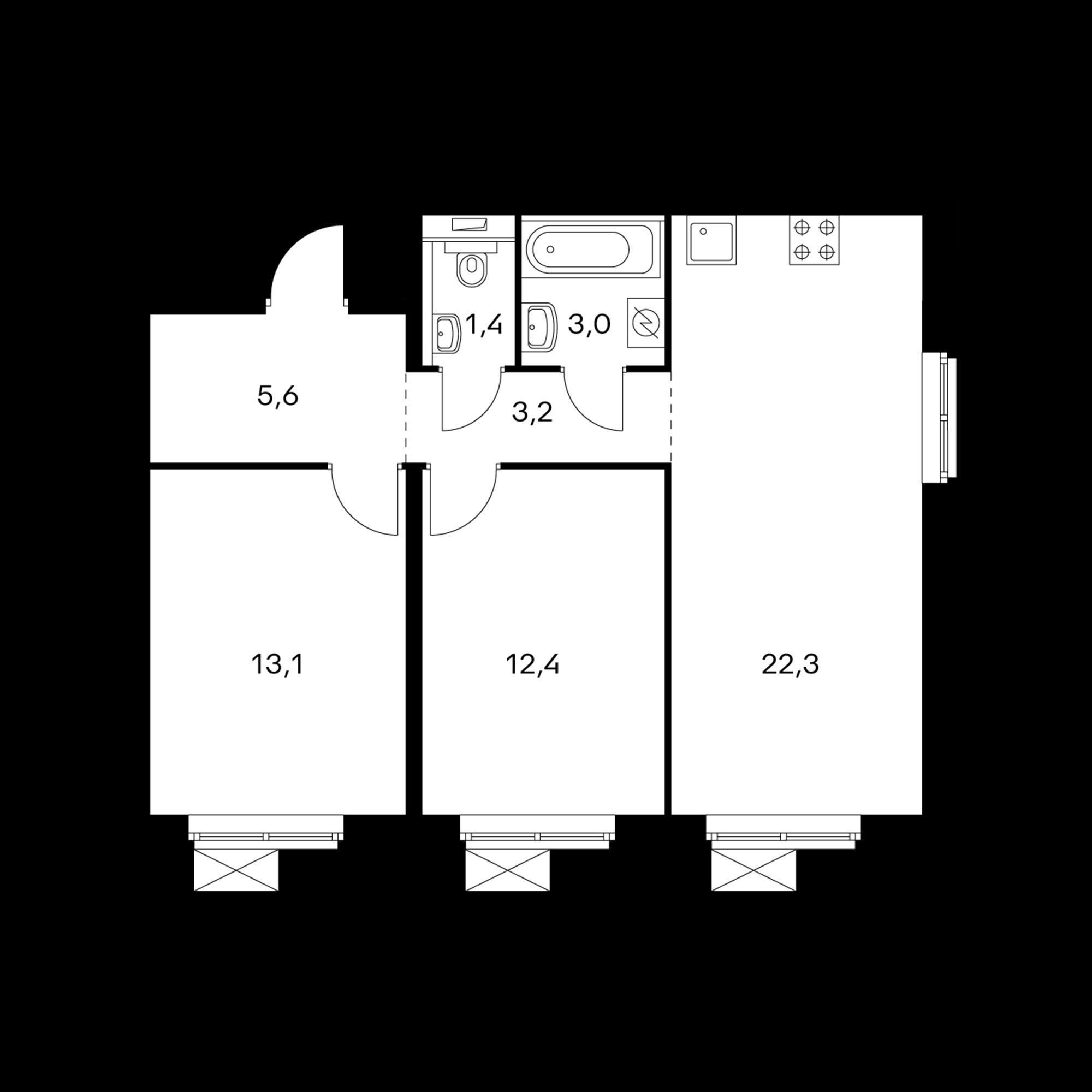2-комнатная 61  м²