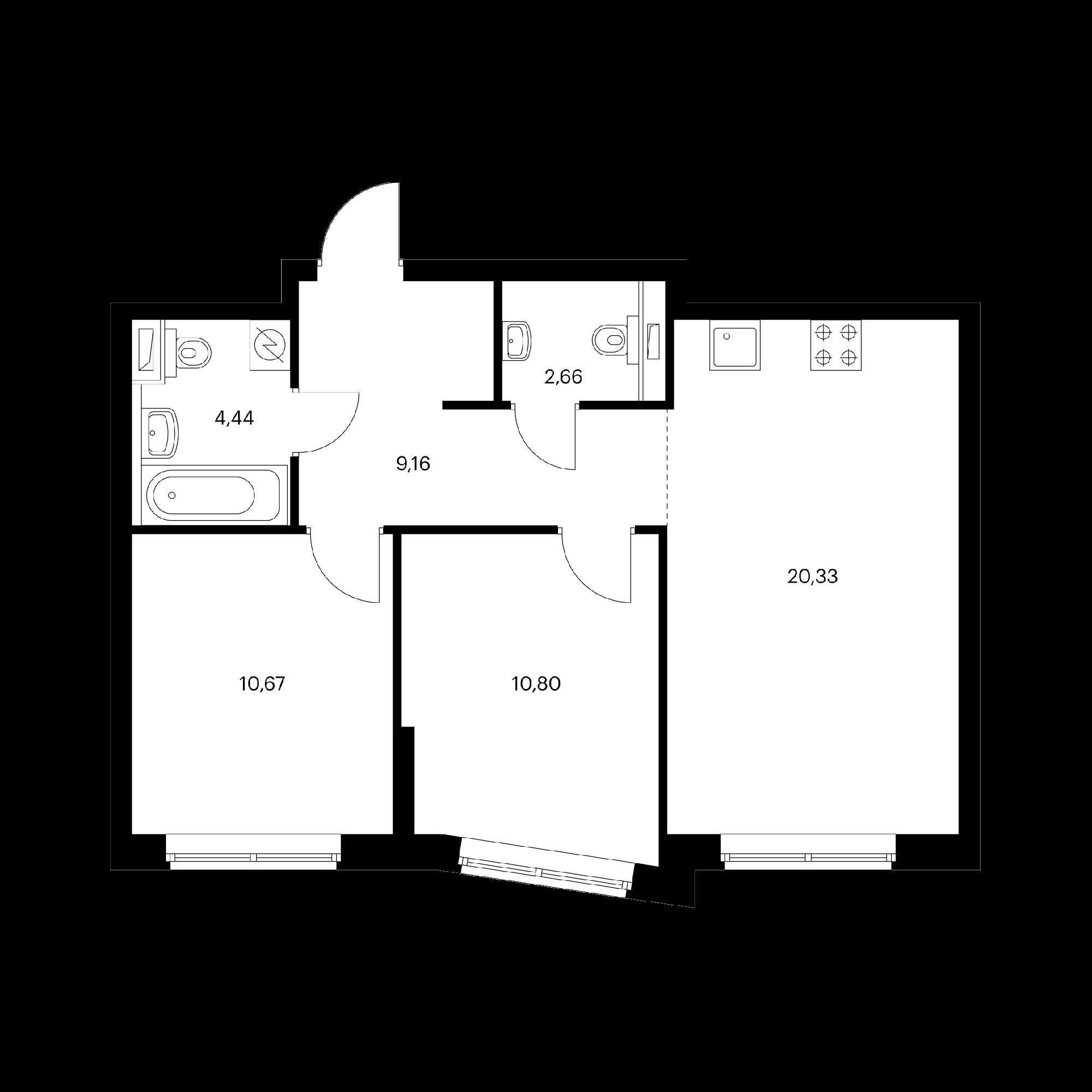 2-комнатная 58.06 м²