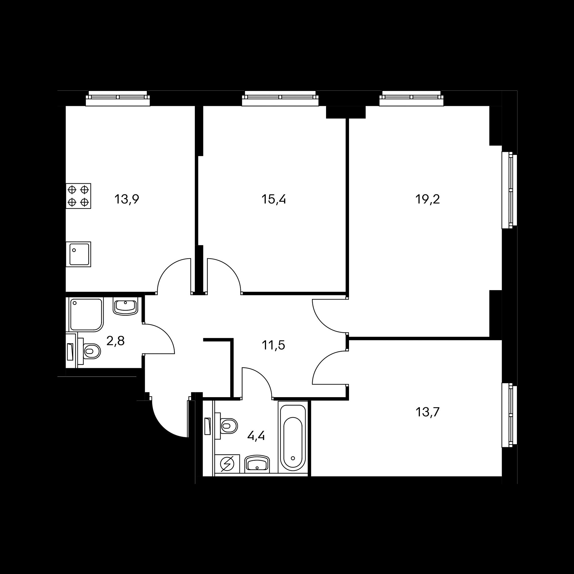 3-комнатная 81 м²