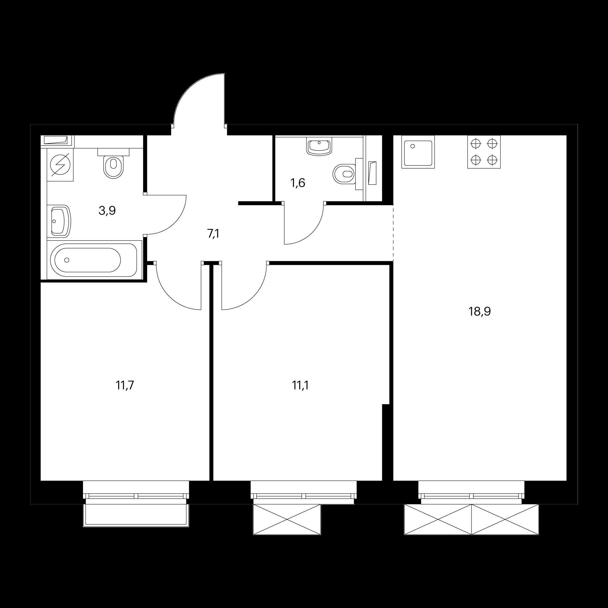 2-комнатная 54.3 м²