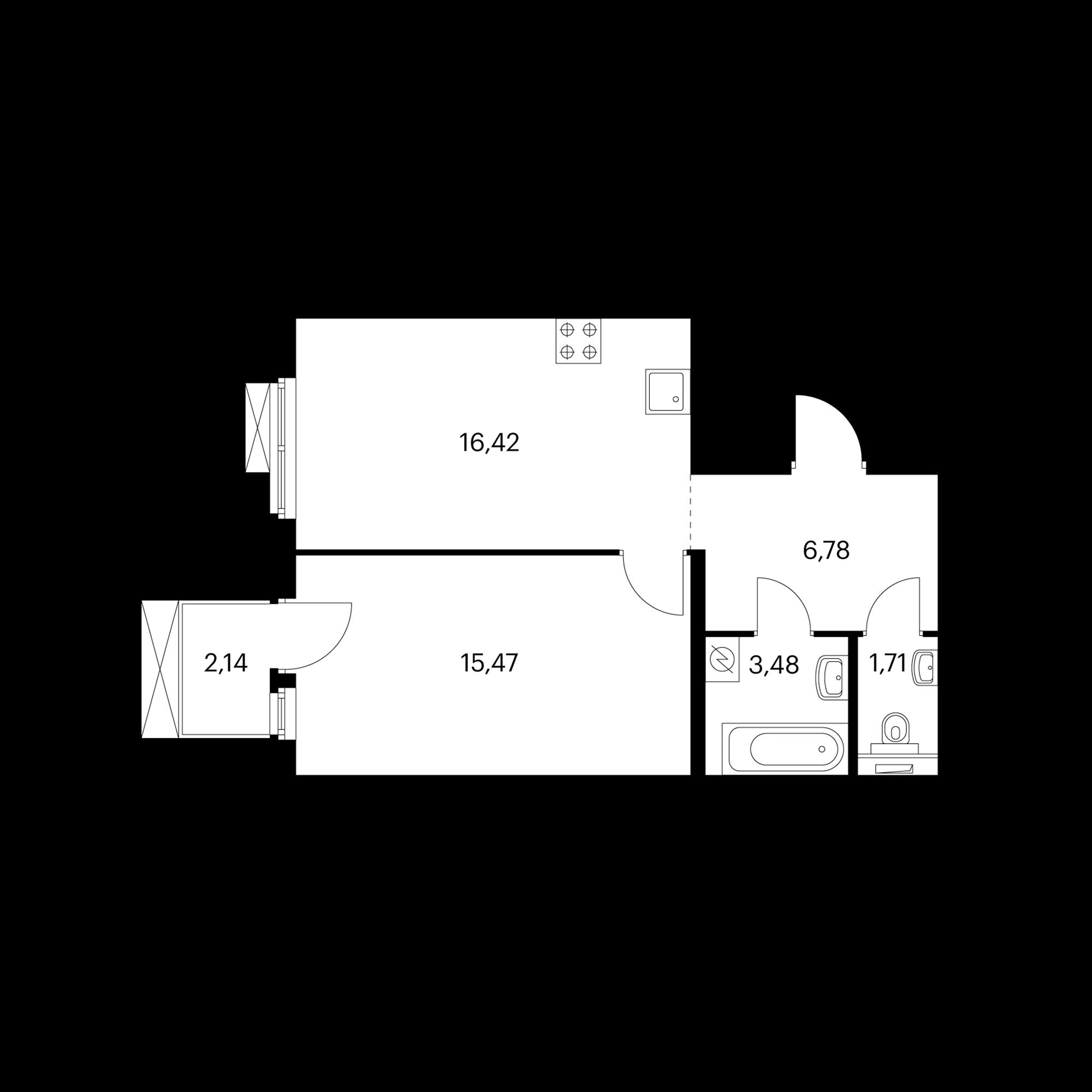 1-комнатная 44.5 м²