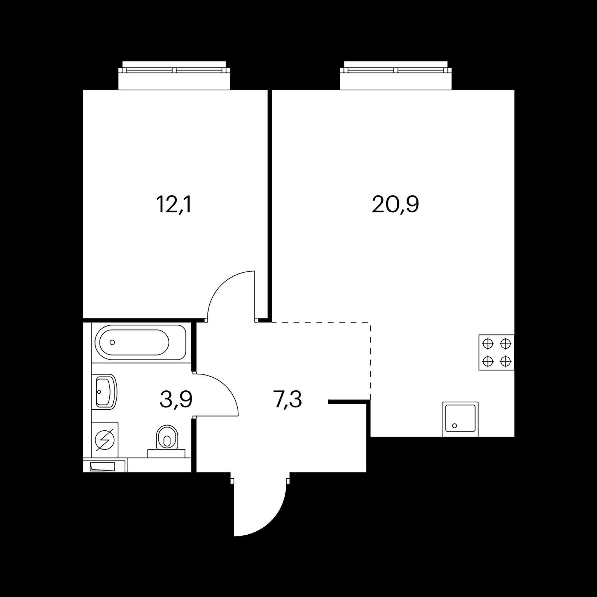 1-комнатная 44.2 м²