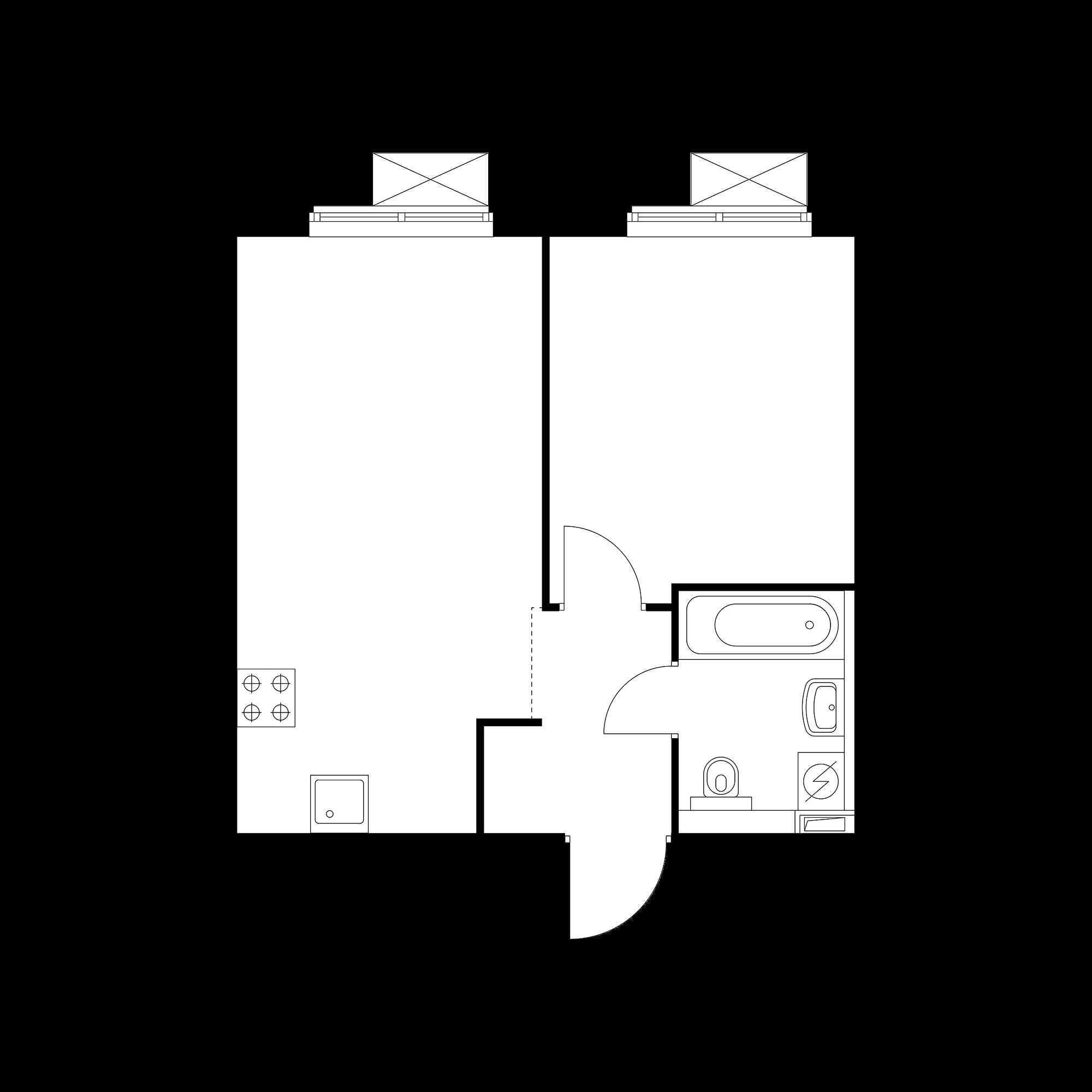 1-комнатная 37.97  м²