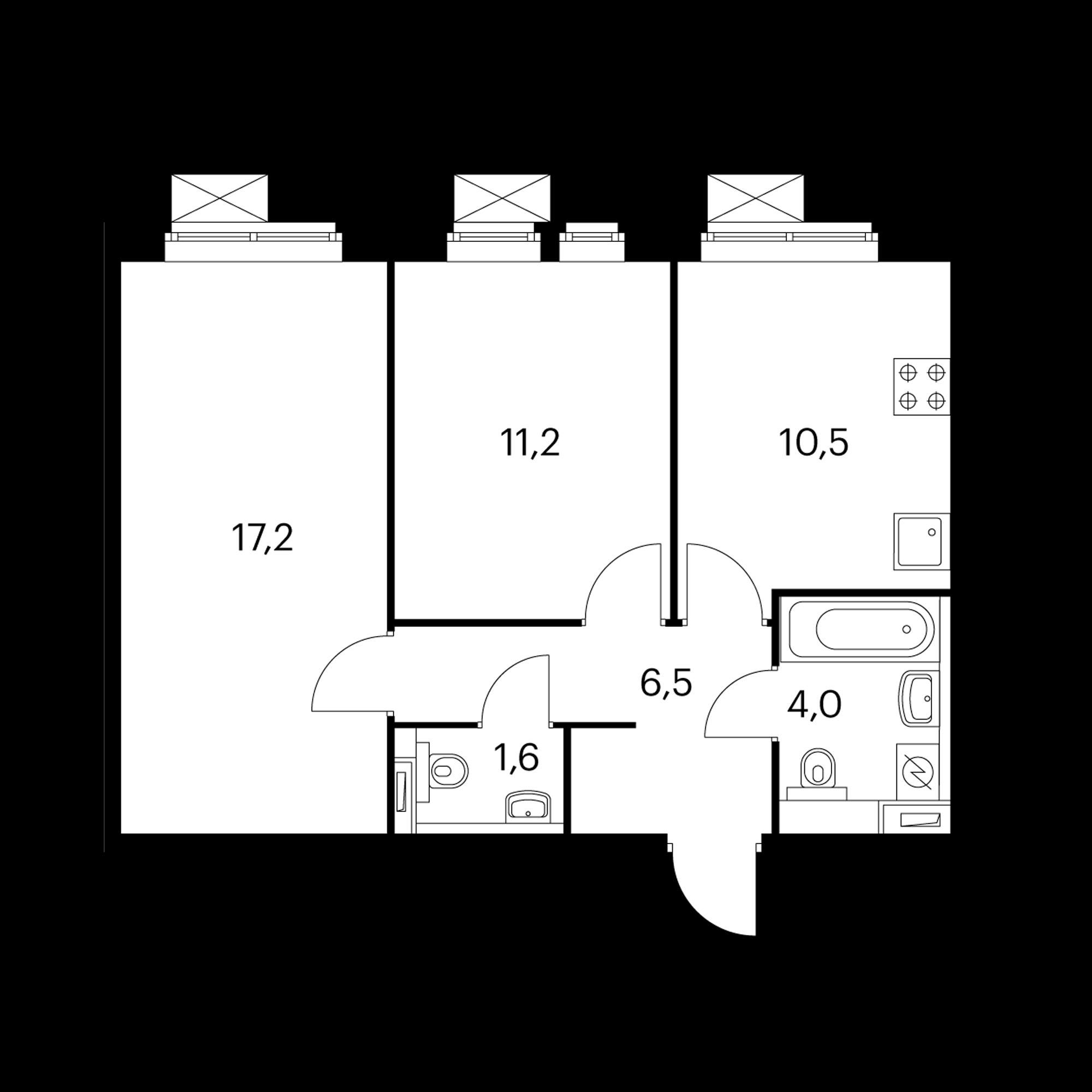 2-комнатная 51  м²