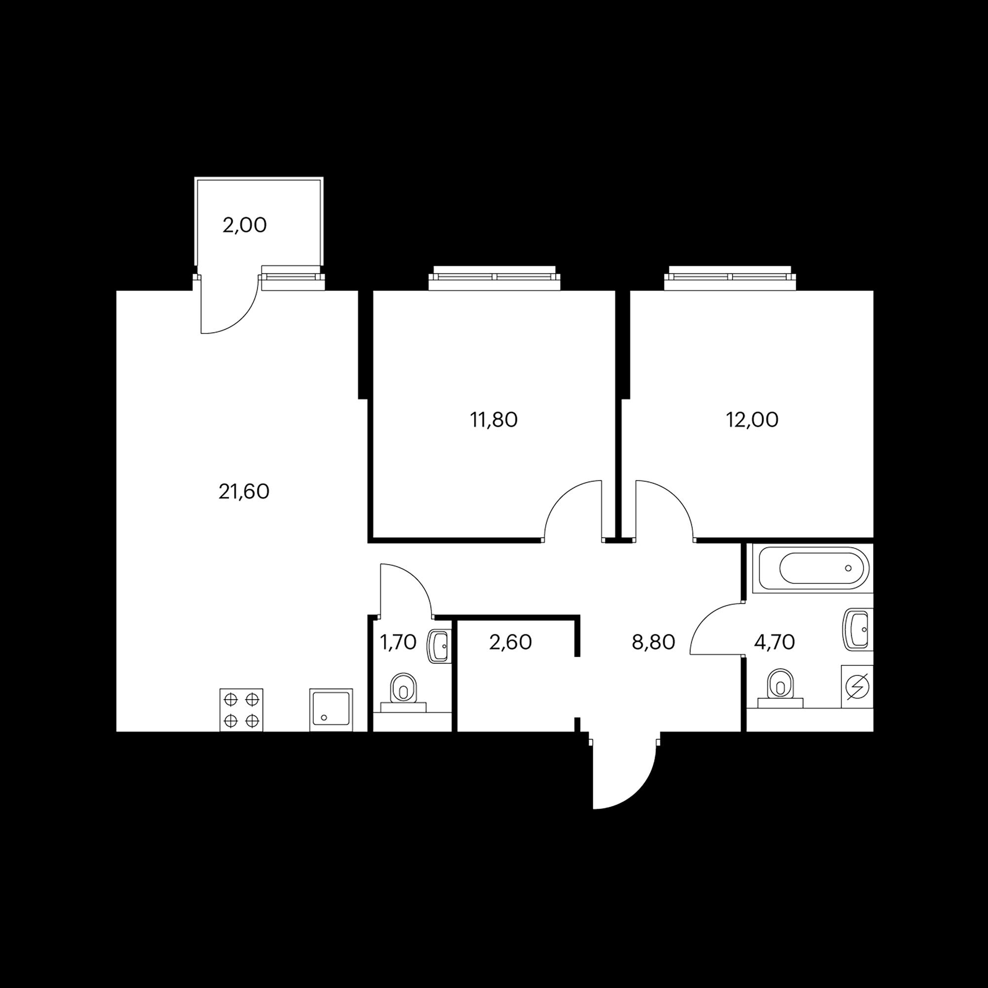 2-комнатная 64 м²