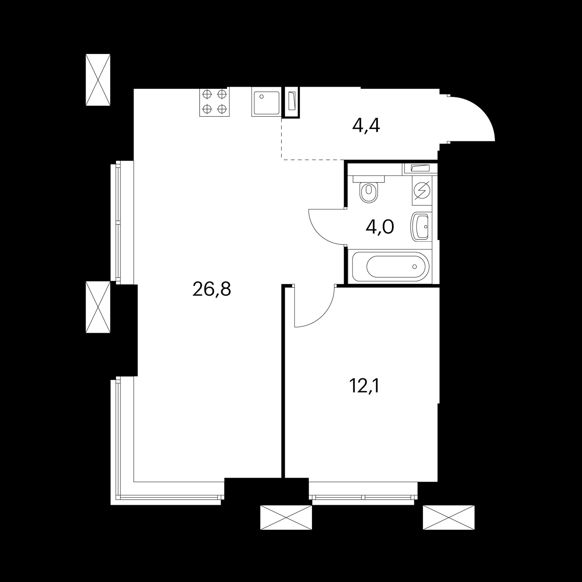1-комнатные 47.4 м²