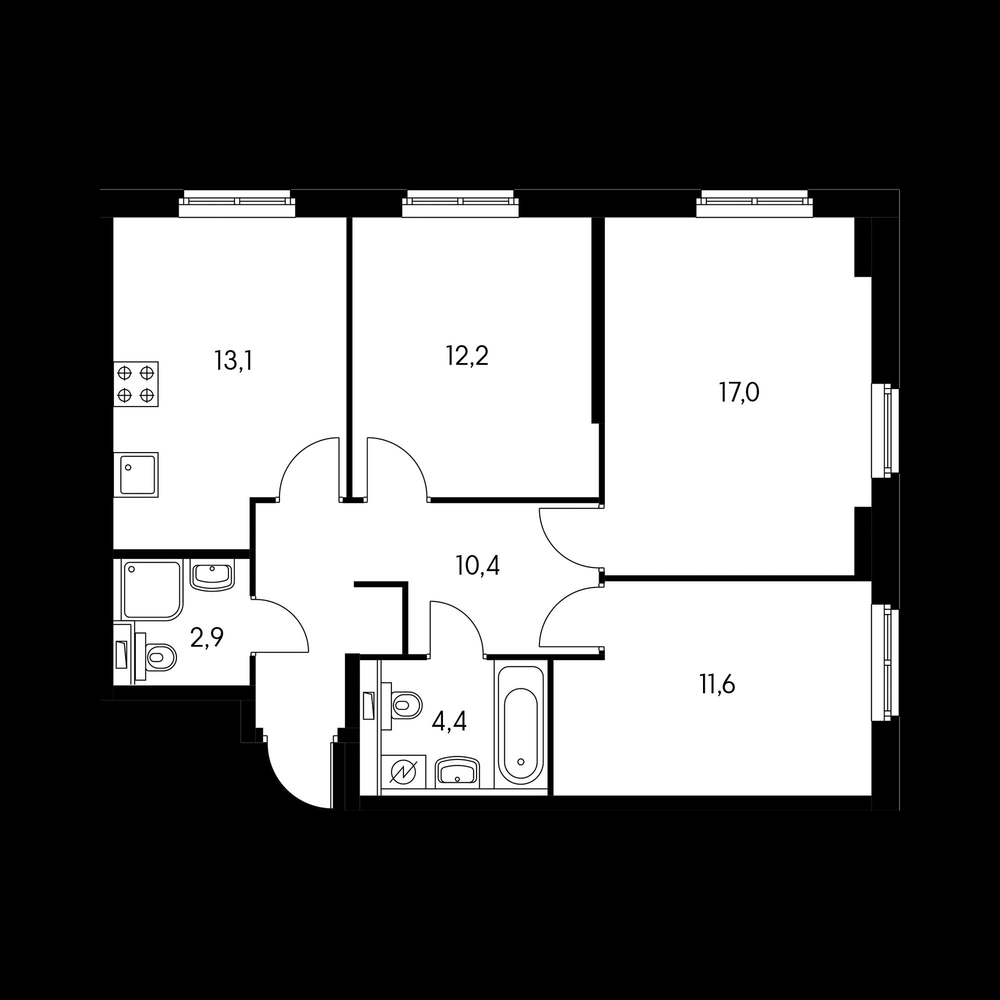 3-комнатная 71.6 м²