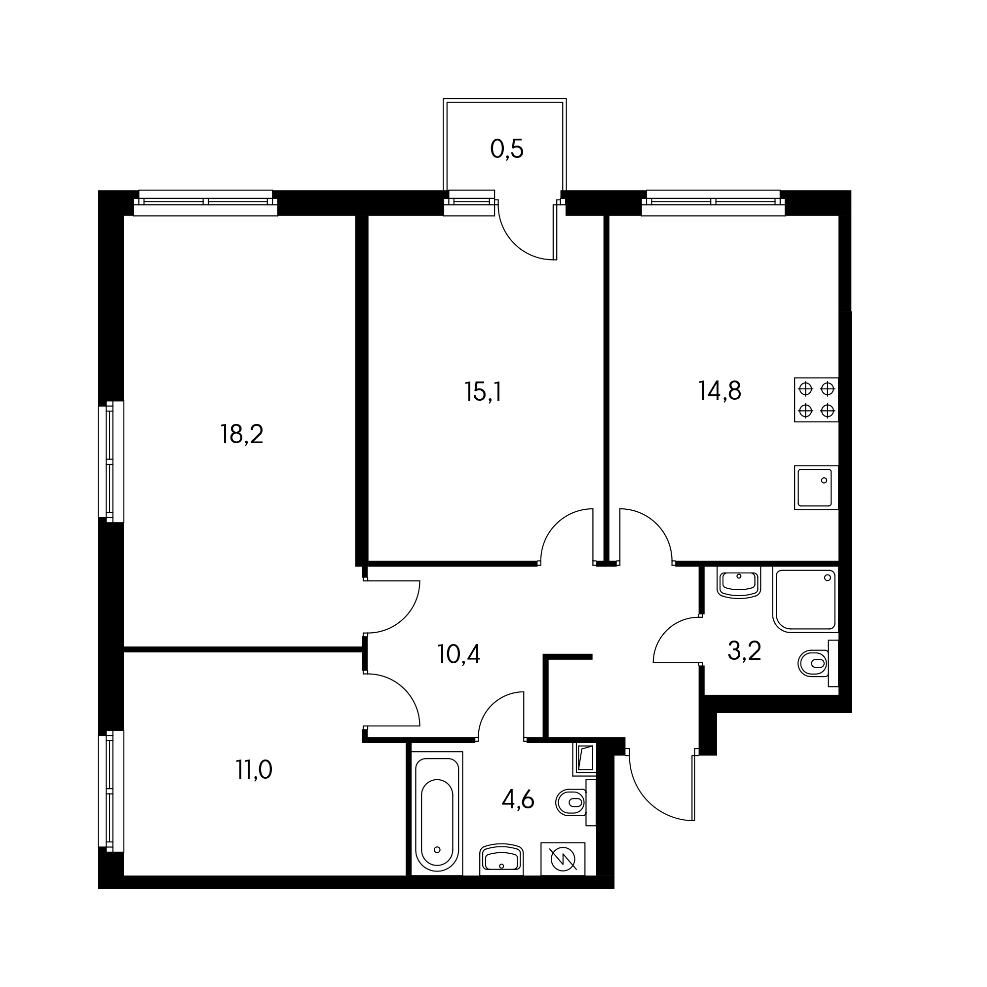 3-комнатная 77.8 м²