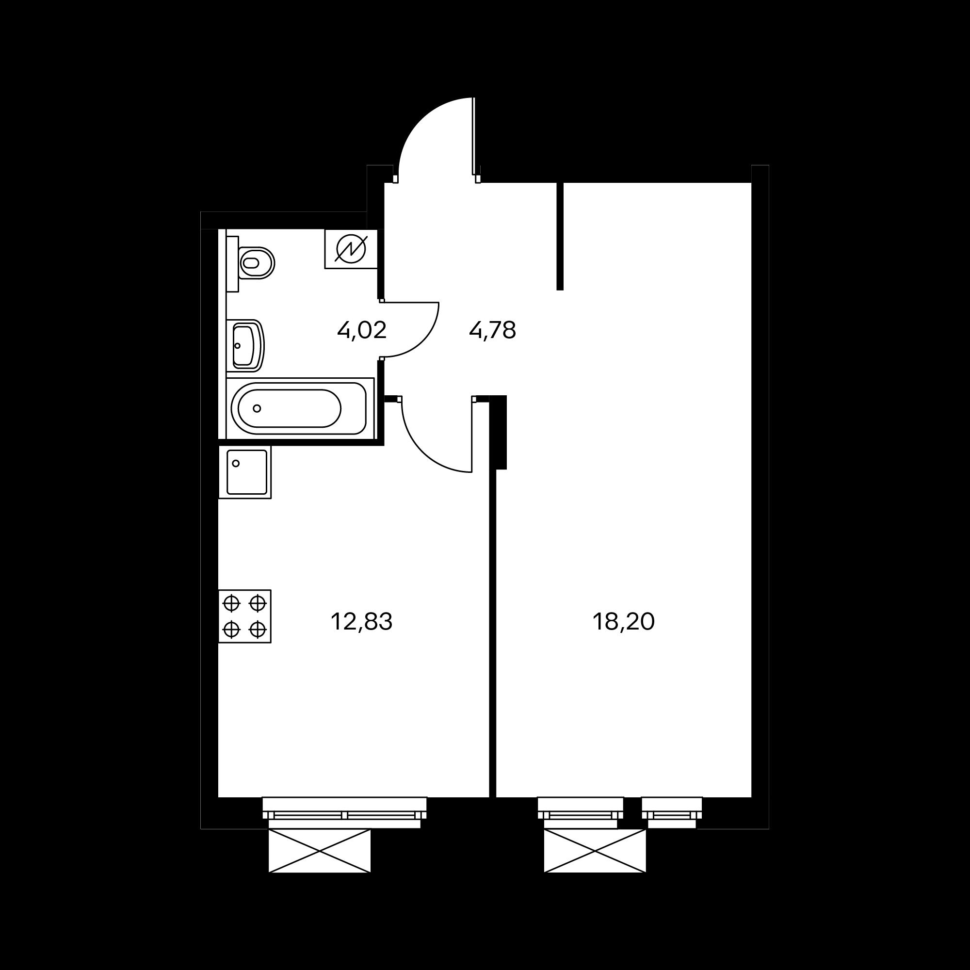 1-комнатная 39.85 м²